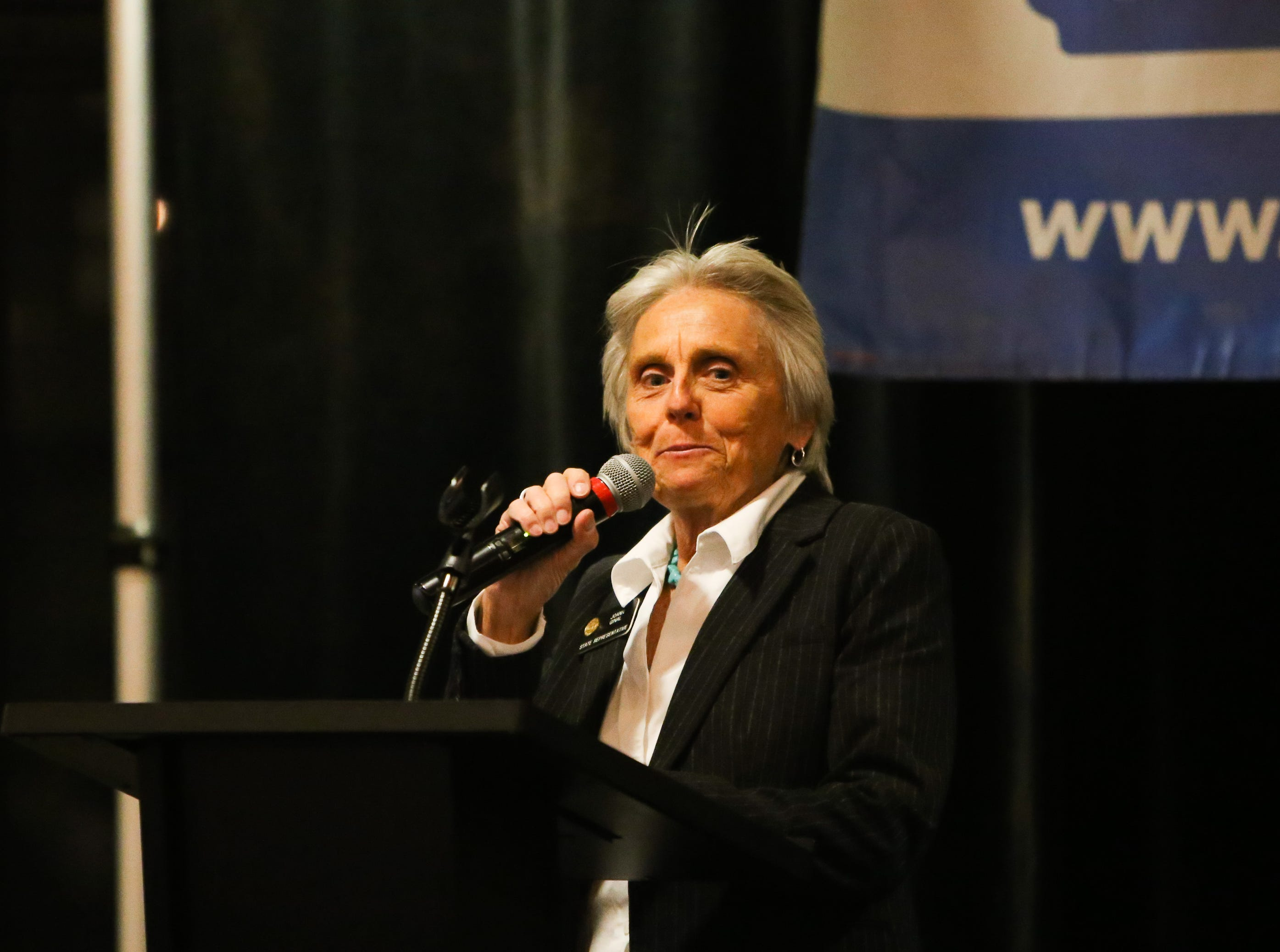 Rep. Joann Ginal speaks  Tuesday at the Democratic watch party at the Fort Collins Marriott.