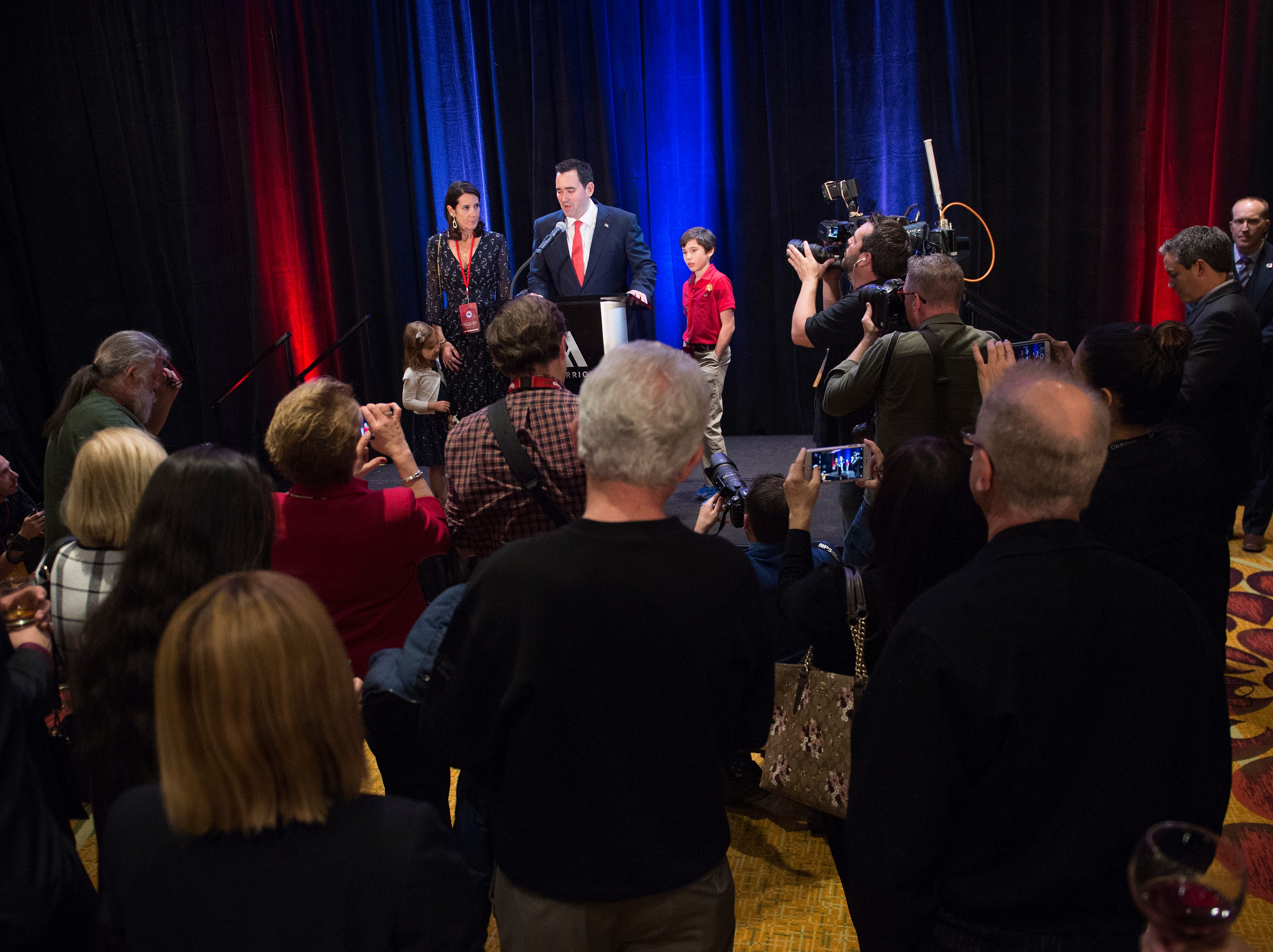 Republican candidate for Colorado governor Walker Stapleton gives a concession speech with his family at his side during a Colorado GOP watch party at the Denver Marriott South at Park Meadows in Lone Tree on Election Day, Tuesday, November 6, 2018.