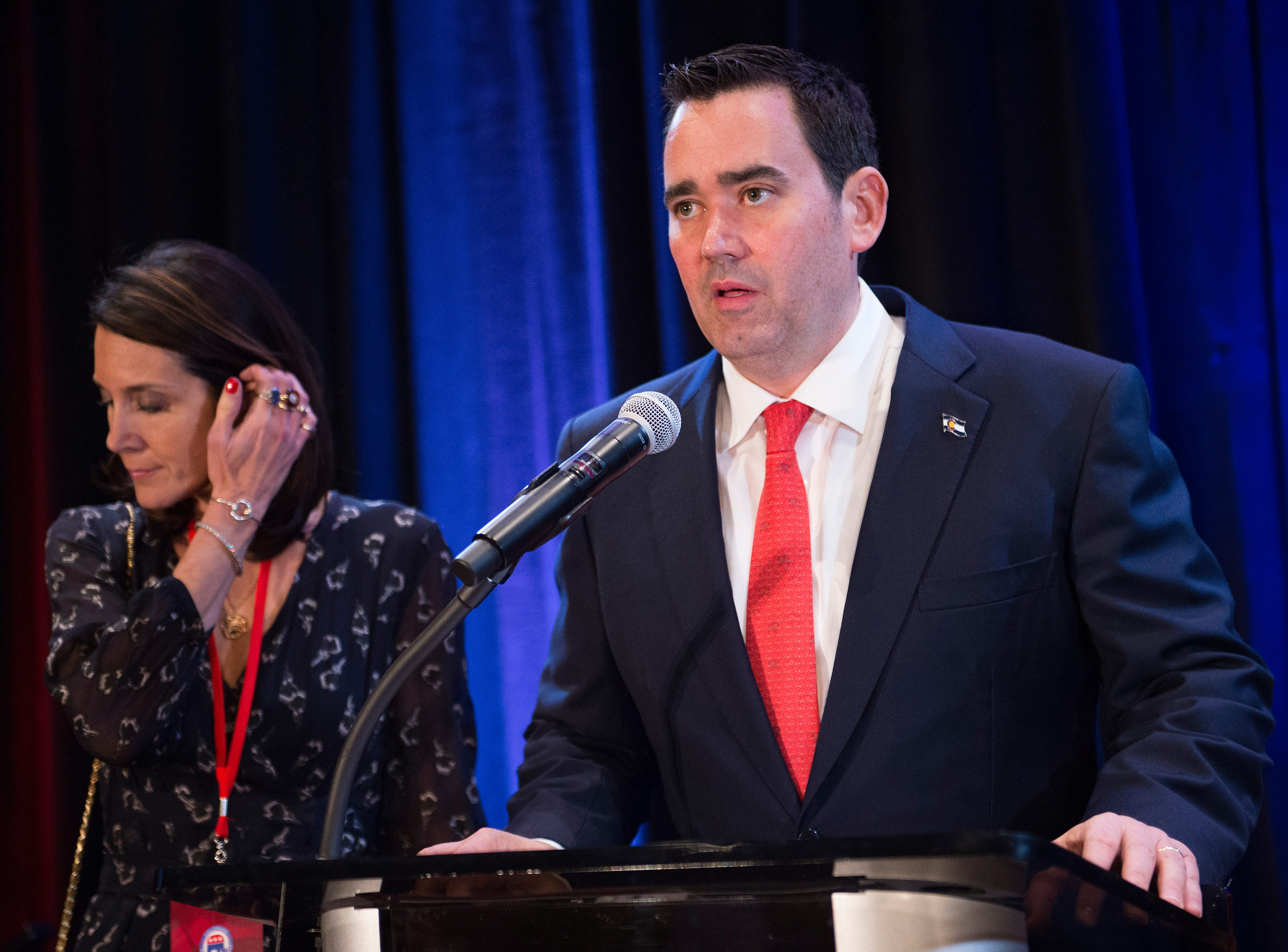 Republican candidate for Colorado governor Walker Stapleton gives a concession speech with his wife, Jenna, at his side during a Colorado GOP watch party at the Denver Marriott South at Park Meadows in Lone Tree on Election Day, Tuesday, November 6, 2018.