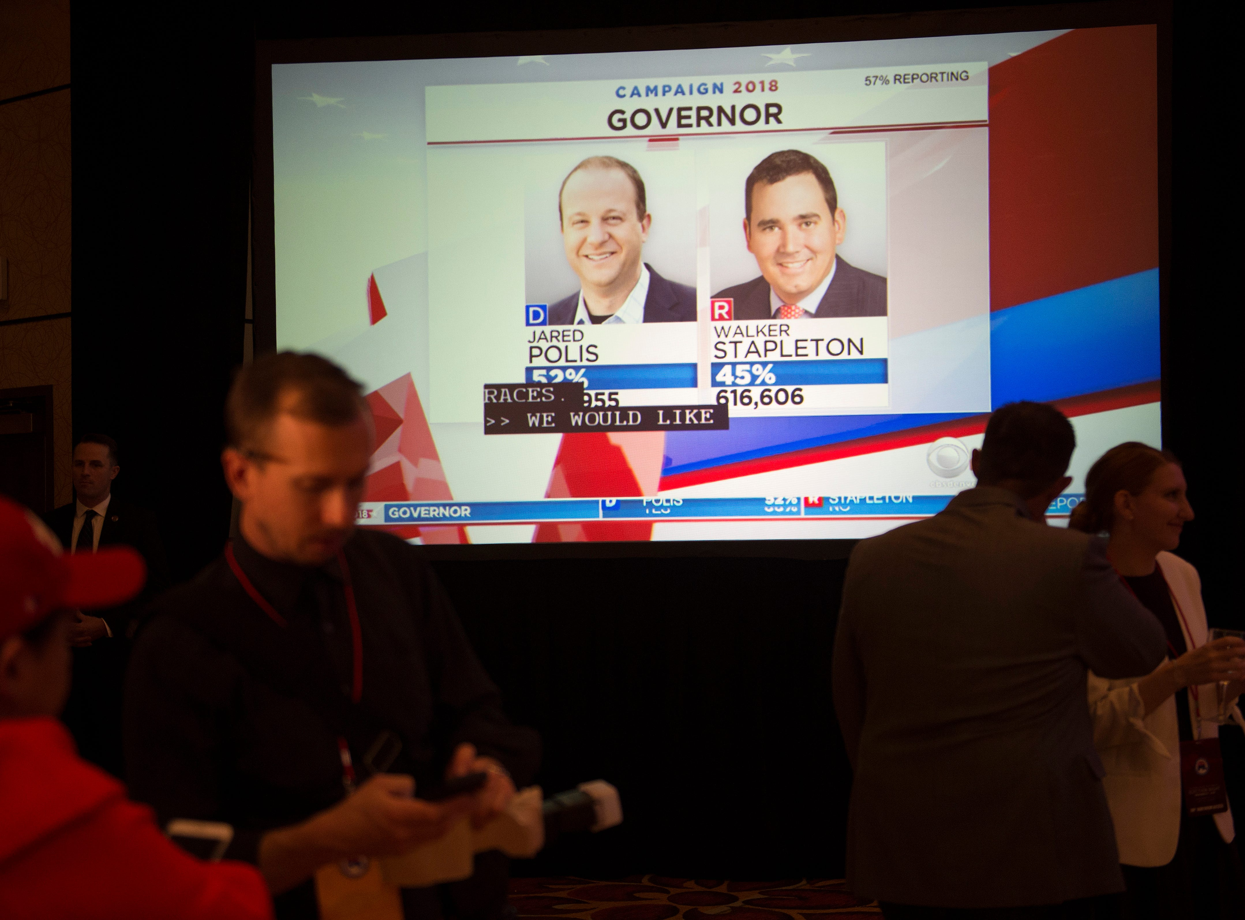 Early voting results for the race for Colorado governor come in during a Colorado GOP watch party at the Denver Marriott South at Park Meadows in Lone Tree on Election Day, Tuesday, November 6, 2018.