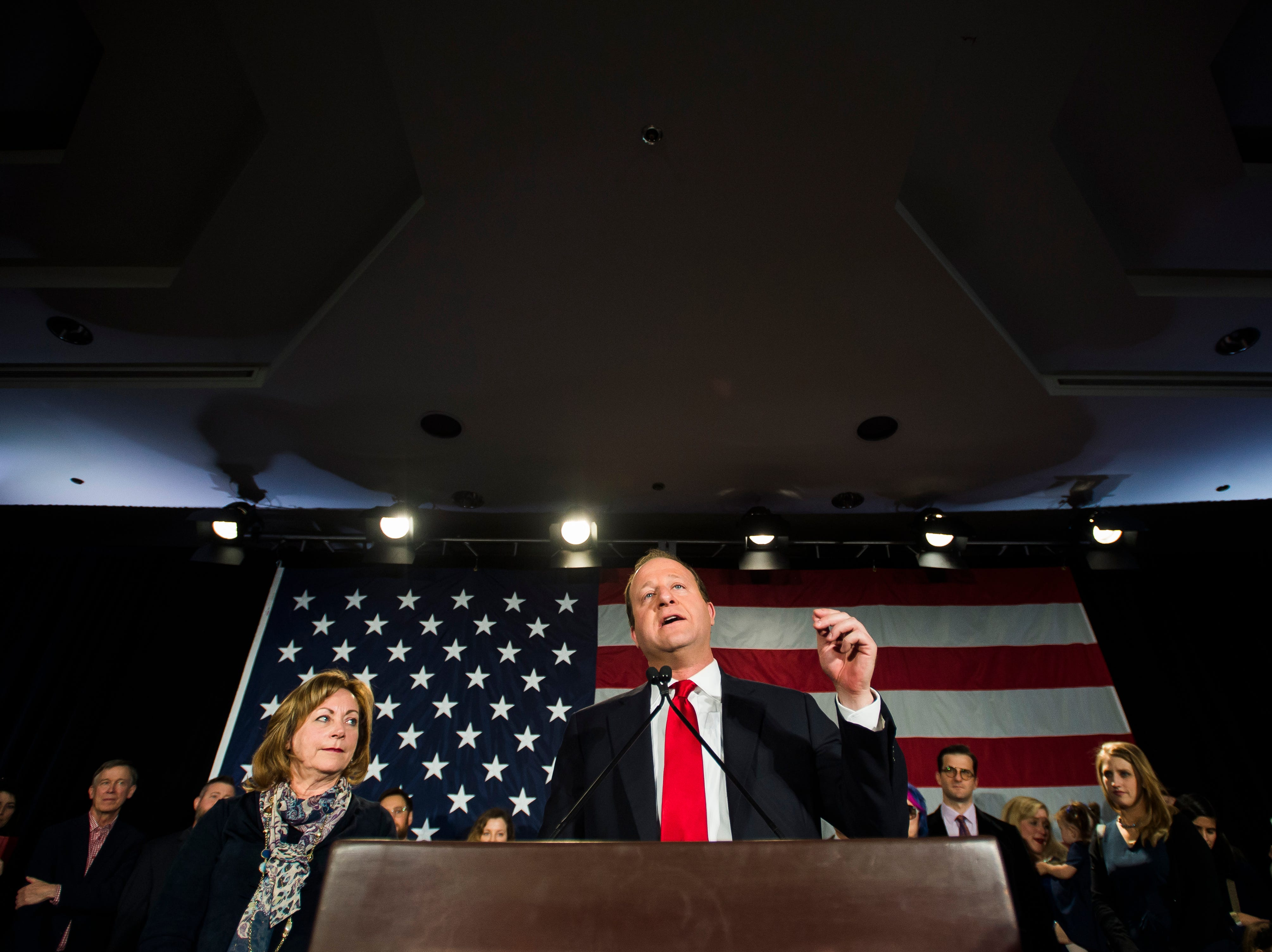 Democratic candidate for Colorado governor Jared Polis speaks to a gathered audience after Republican candidate Walker Stapleton conceded the race on Tuesday, Nov. 6, 2018, at the Westin Denver Downtown hotel in Denver, Colo.