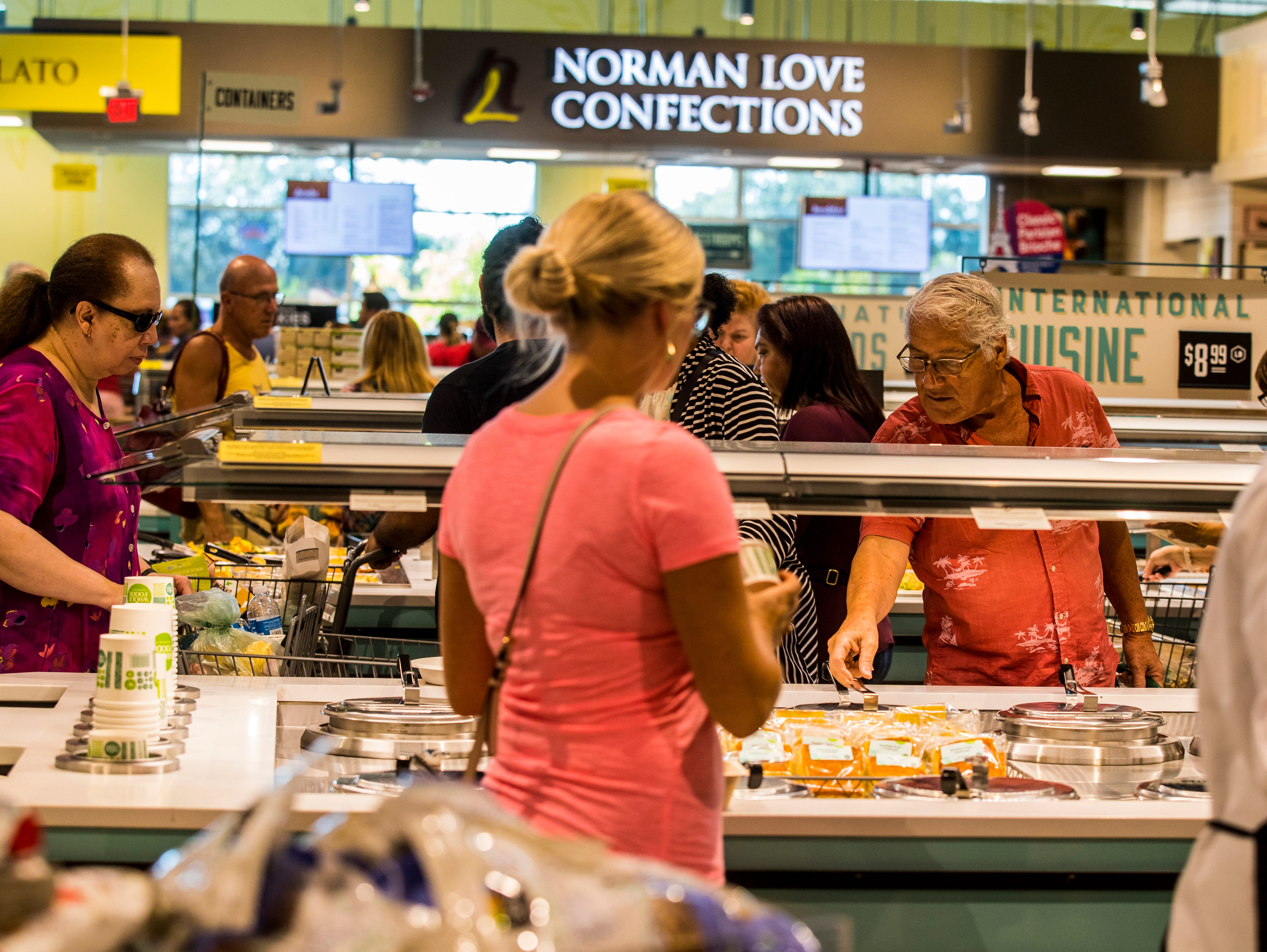 The Deli area was a popular spot for customers. Whole Foods Market in South Fort Myers on the corner of Daniels and Six Mile Cypress opened on Wednesday morning to a crowd that wrapped around the building for hours.
