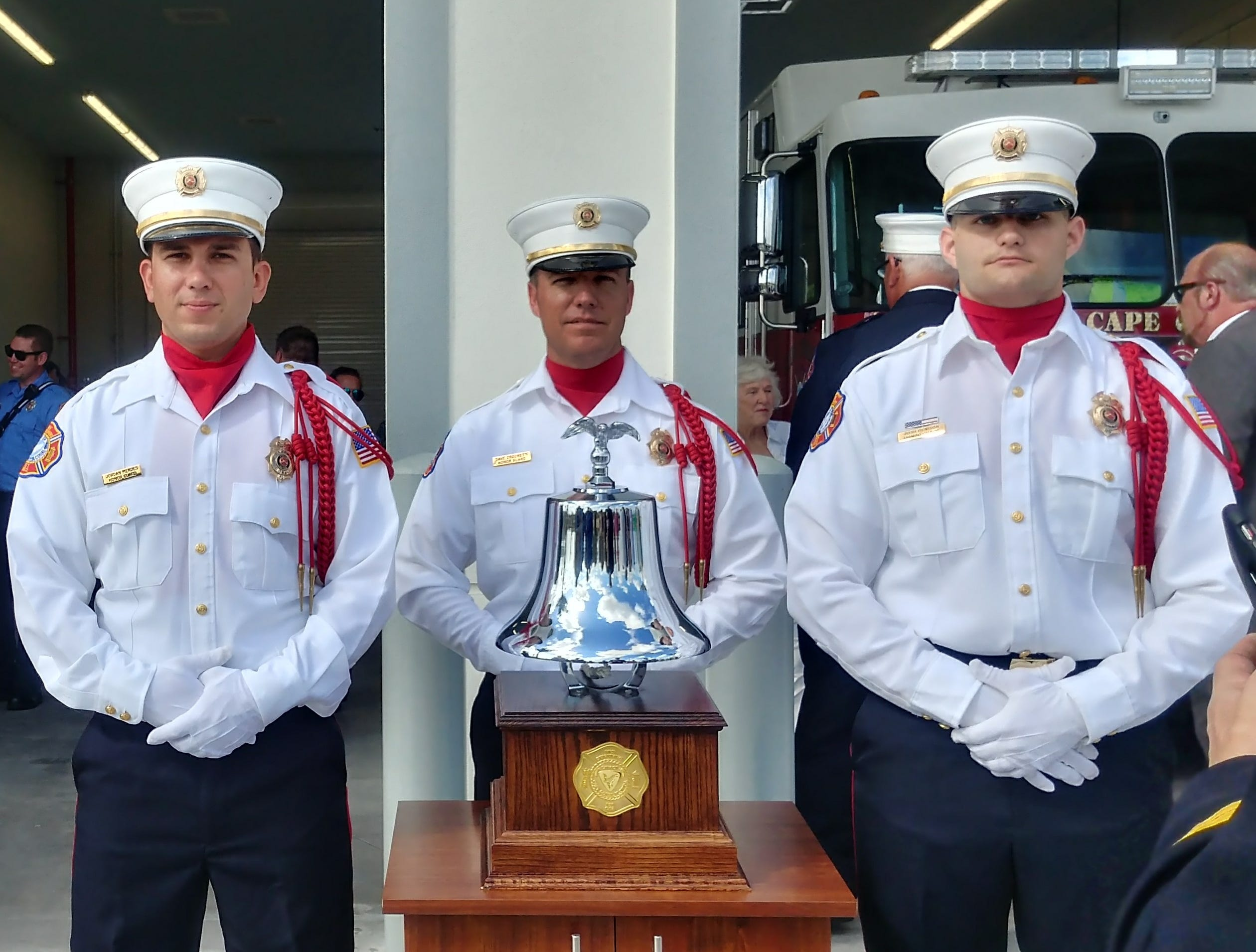The bell rang during teh opening ceremonies for Cape Coral Fire Department's Station 11 on Burnt Store Road on Wednesday.