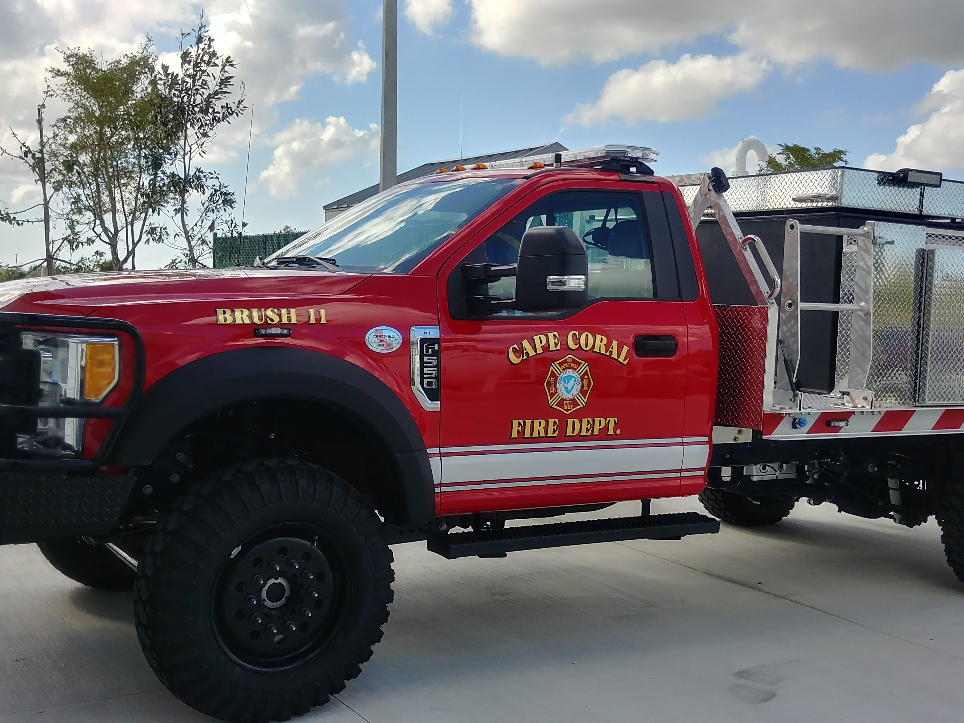 The new brush fire truck at Station 11 will serve the Northwest quadrant of Cape Coral as the station opened Wednesday.