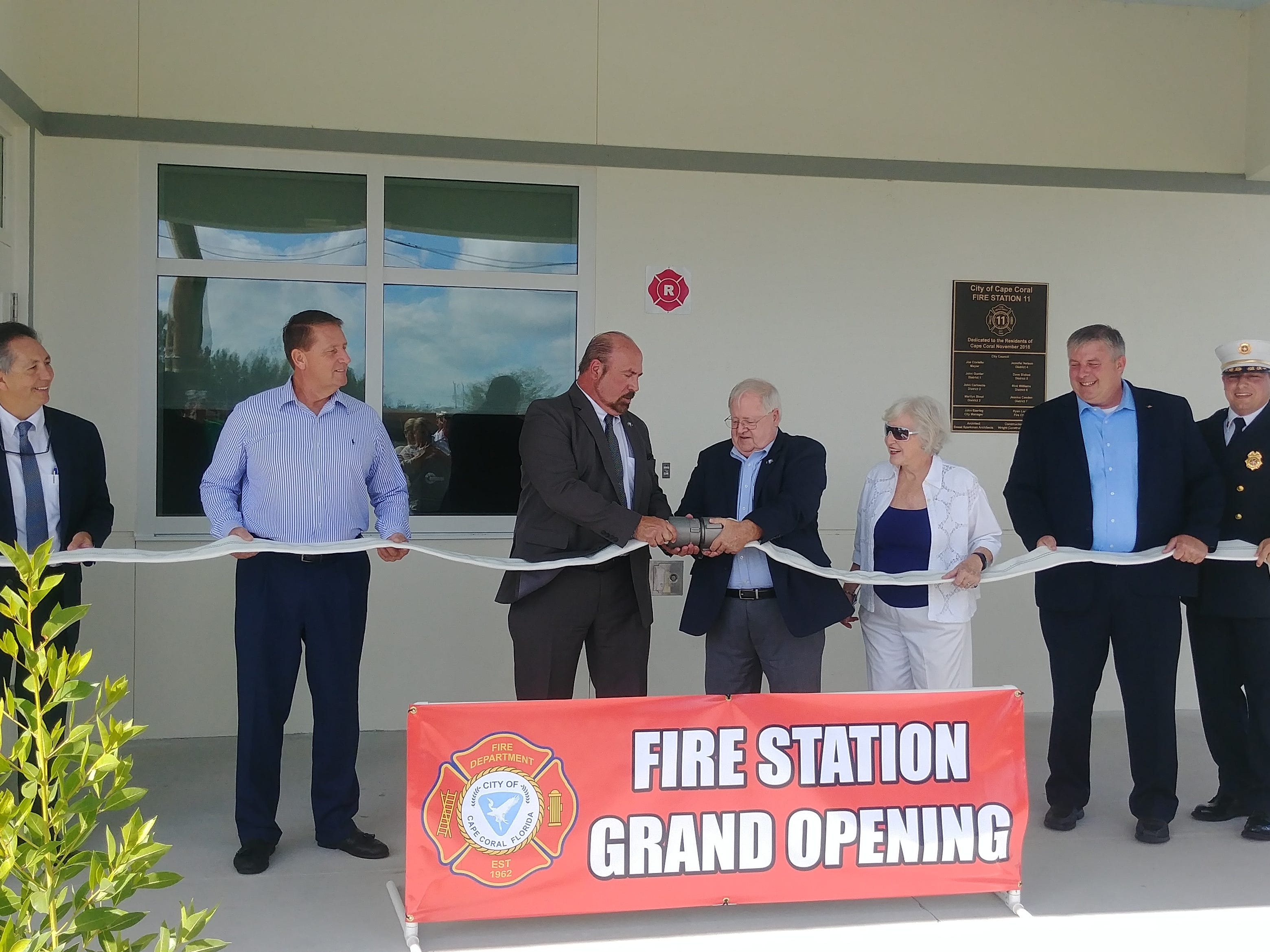 """Instead of cutting the ribbon during the grand opening ceremony of Station 11, Cape Coral dignataries """"uncoupled"""" a fire house."""