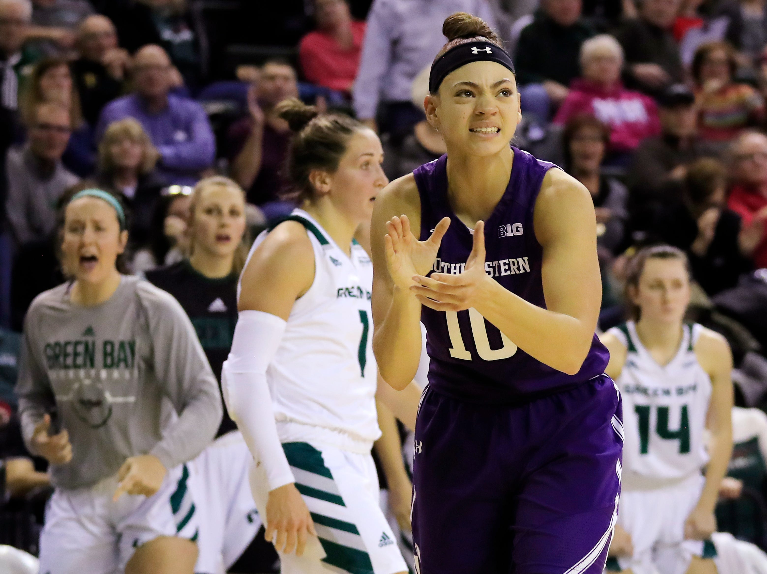 Northwestern Wildcats guard Lindsey Pulliam (10) reacts in the final seconds against the Green Bay Phoenix in a women's NCAA basketball game at the Kress Center on Tuesday, November 6, 2018 in Green Bay, Wis.