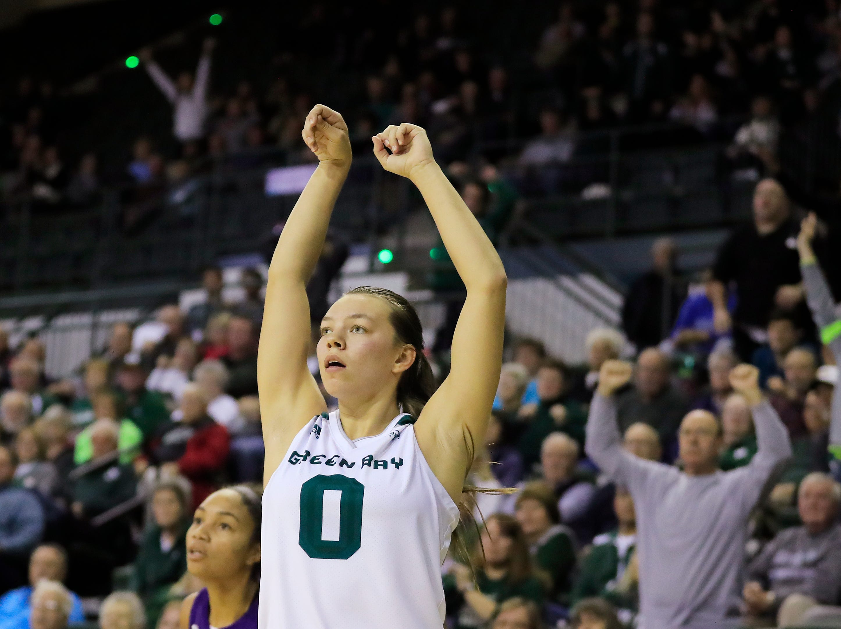 Green Bay Phoenix guard Hailey Oskey (0) watches a failed 3-point attempt in the final seconds against the Northwestern Wildcats in a women's NCAA basketball game at the Kress Center on Tuesday, November 6, 2018 in Green Bay, Wis.