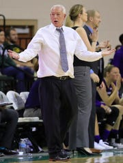 Northwestern Wildcats head coach Joe McKeown reacts during a women's NCAA basketball game against the Green Bay Phoenix at the Kress Center on Tuesday, November 6, 2018 in Green Bay, Wis.