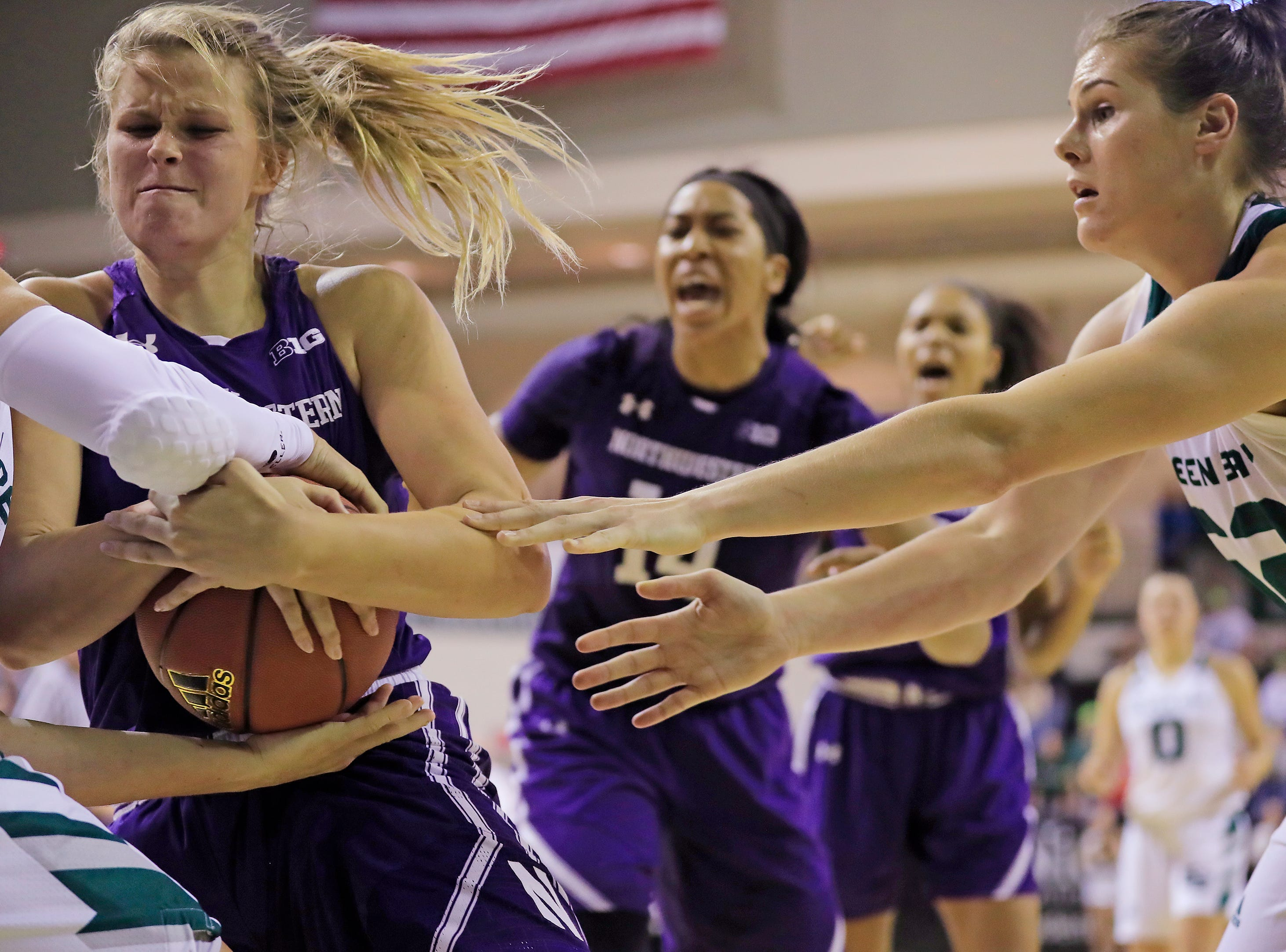 Northwestern Wildcats forward/center Abi Scheid (44) holds onto a rebound in the final minute against the Green Bay Phoenix in a women's NCAA basketball game at the Kress Center on Tuesday, November 6, 2018 in Green Bay, Wis.
