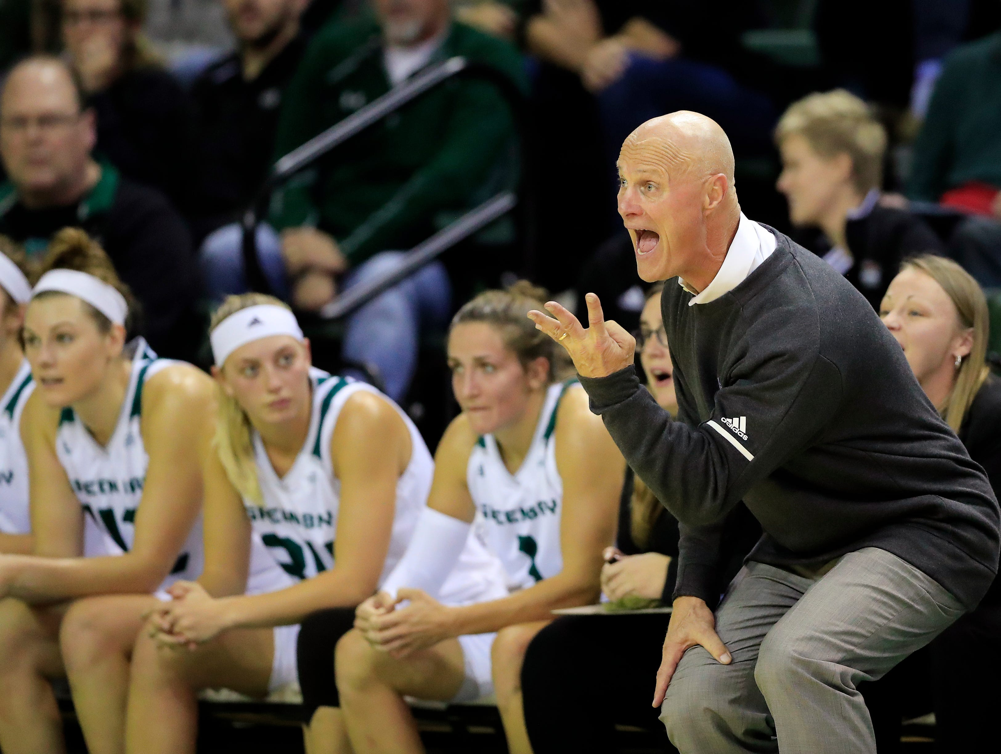 Green Bay Phoenix head coach Kevin Borseth shouts instructions during a women's NCAA basketball game against the Northwestern Wildcats at the Kress Center on Tuesday, November 6, 2018 in Green Bay, Wis.