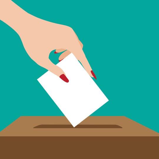 Woman voting flat design. EPS 10 vector illustration