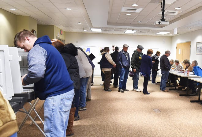 A steady stream of voters at Sturgeon Bay City Hall on Tuesday, Nov. 6, 2018.