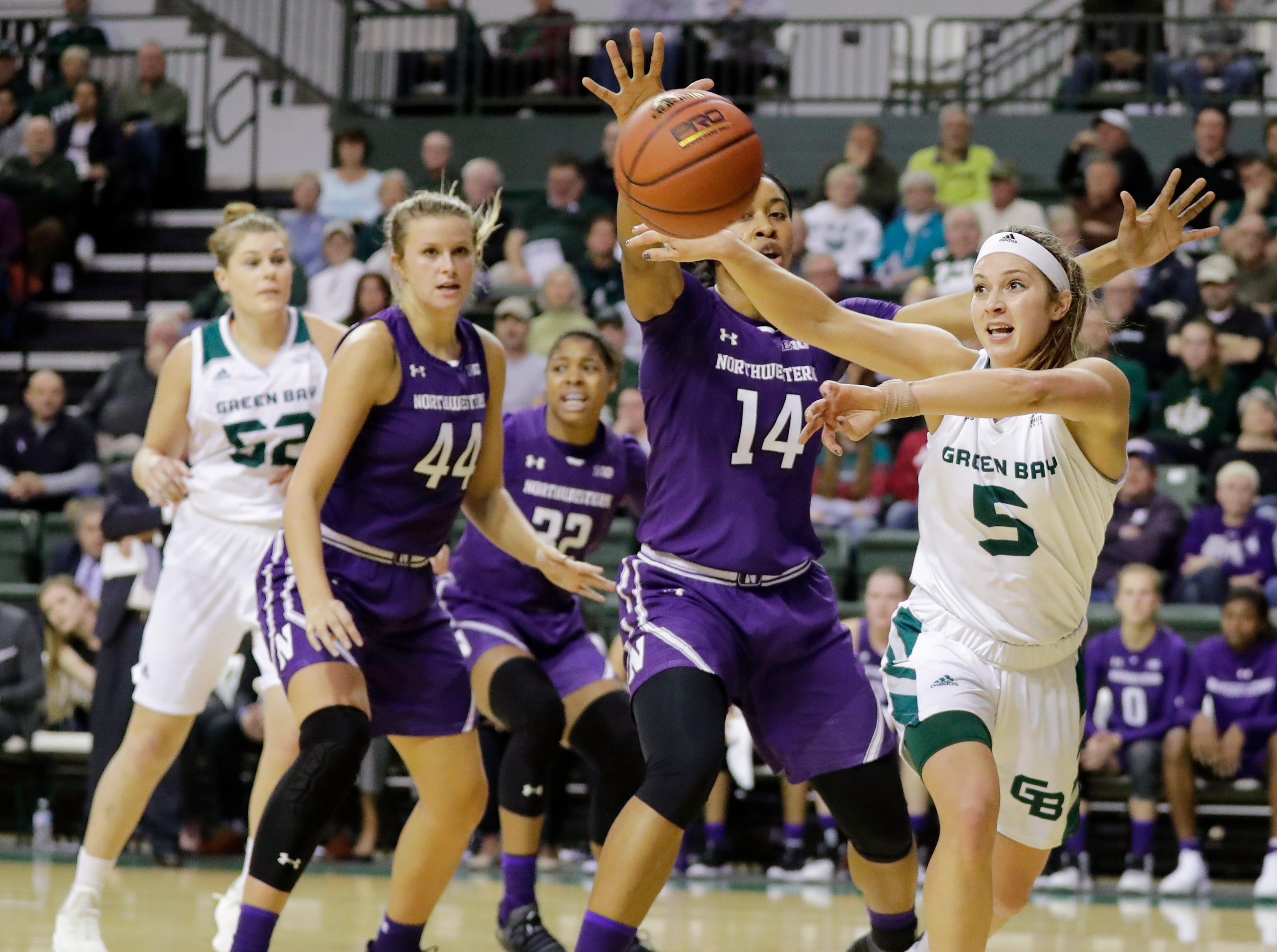 Green Bay Phoenix guard Laken James (5) passes in a women's NCAA basketball game against the Northwestern Wildcats at the Kress Center on Tuesday, November 6, 2018 in Green Bay, Wis.