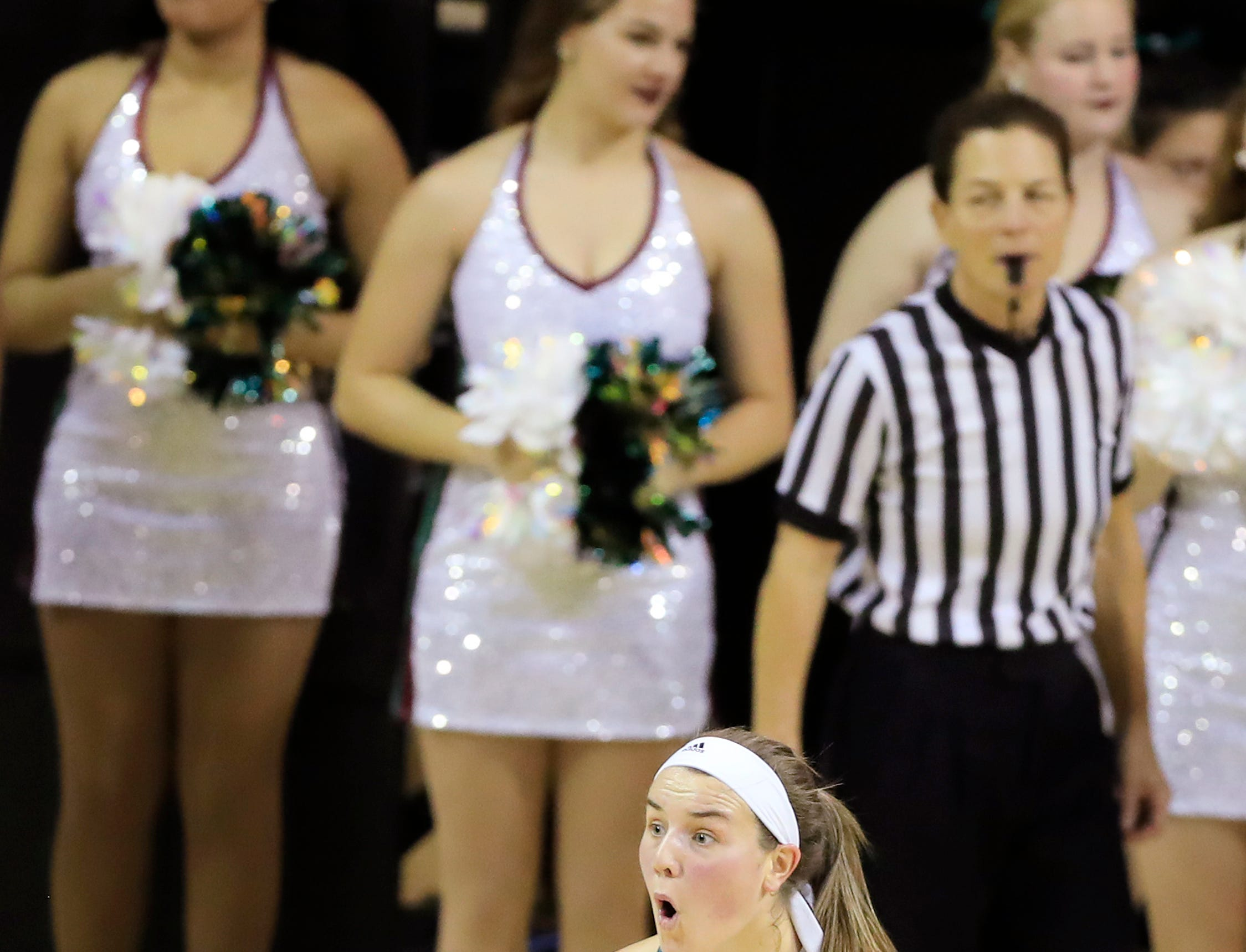 Green Bay Phoenix guard/forward Lyndsey Robson (25) reacts after a foul call in a women's NCAA basketball game against the Northwestern Wildcats at the Kress Center on Tuesday, November 6, 2018 in Green Bay, Wis.