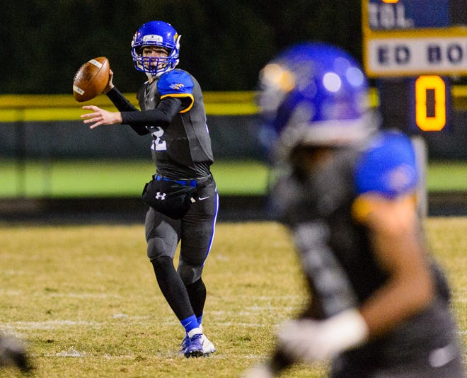 Junior quarterback Dawson Conrad (12) and the Eastside Eagles will travel to Daniel Thursday for a Class AAAA first-round playoff game. The game was moved up a day due to the threat of inclement weather.