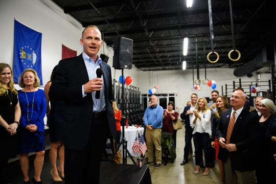 William Timmons gives his victory speech after winning the race for South Carolina's 4th Congressional District on Tuesday, Nov 6, 2018.