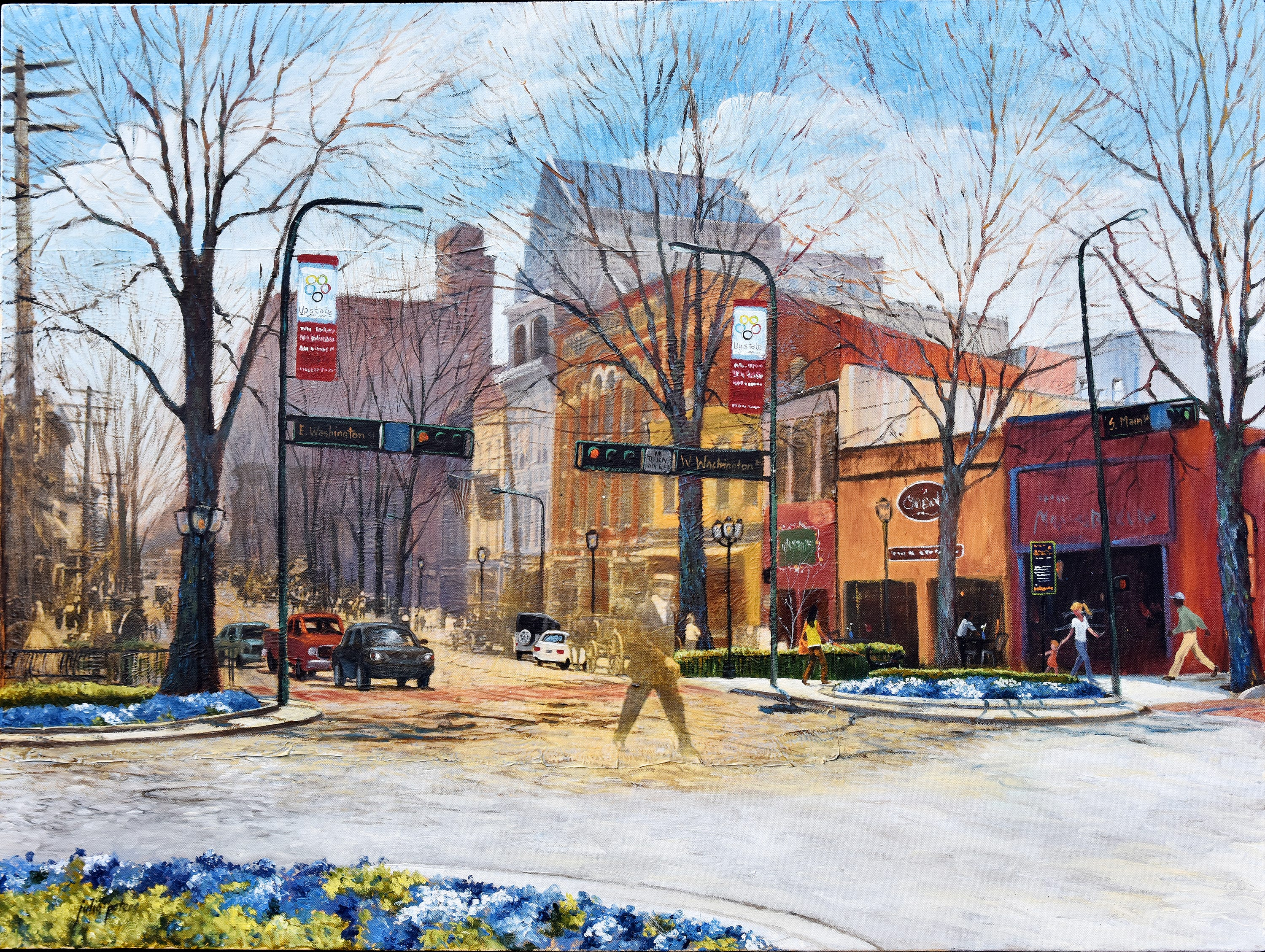 N. Main and Washington Street, circa 1900-2013, oil painting by Julia Peters