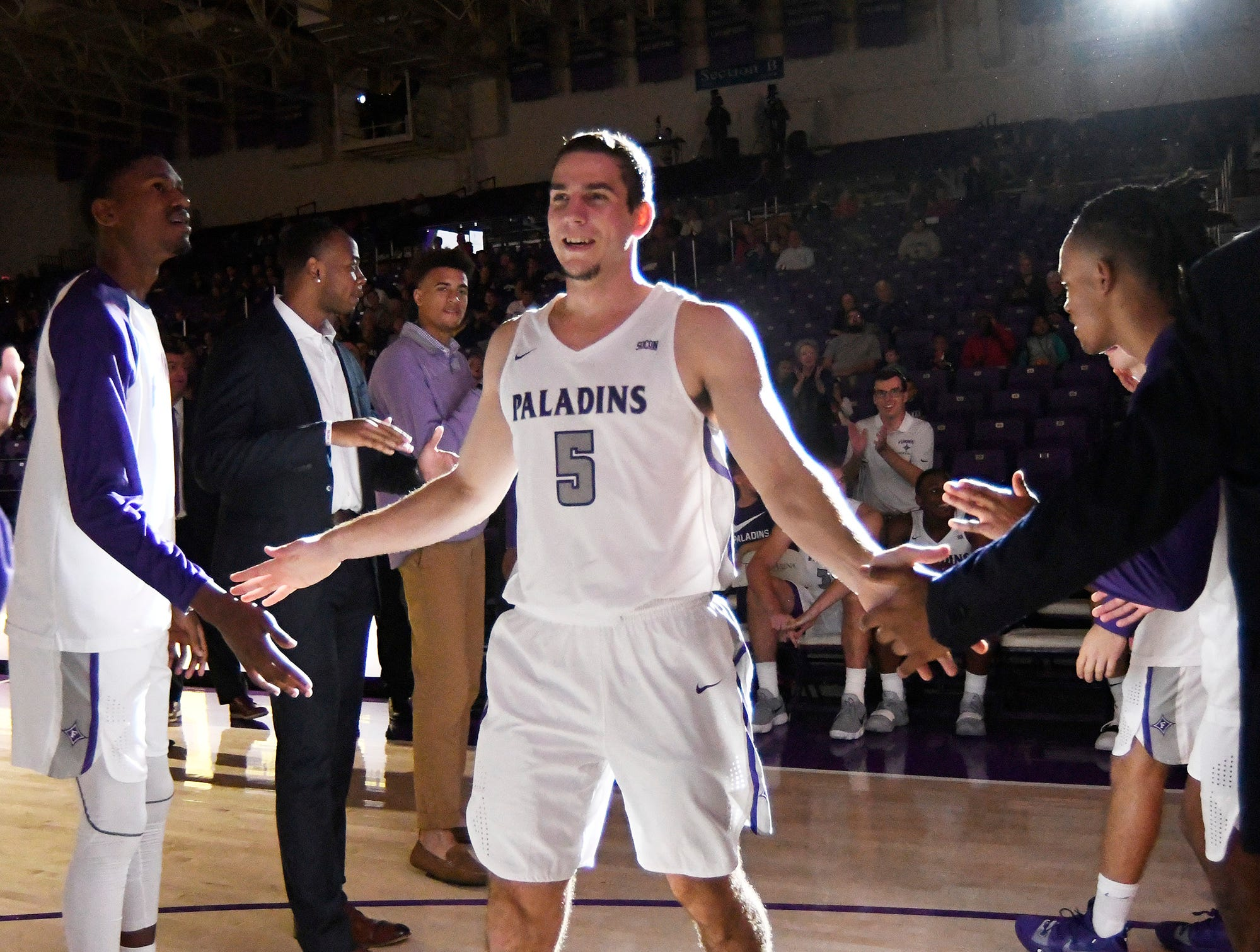 Furman's Andrew Brown (5) is introduced before facing Bob Jones Tuesday, November 6, 2018, at Timmons Arena.