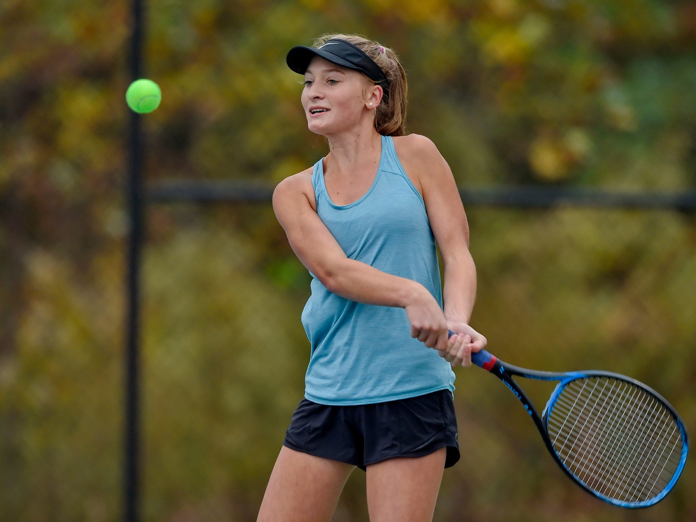 Christ Church's Annie Jennings plays against St. Joseph's in the Upper State girls tennis playoffs Monday, Nov. 5, 2018.