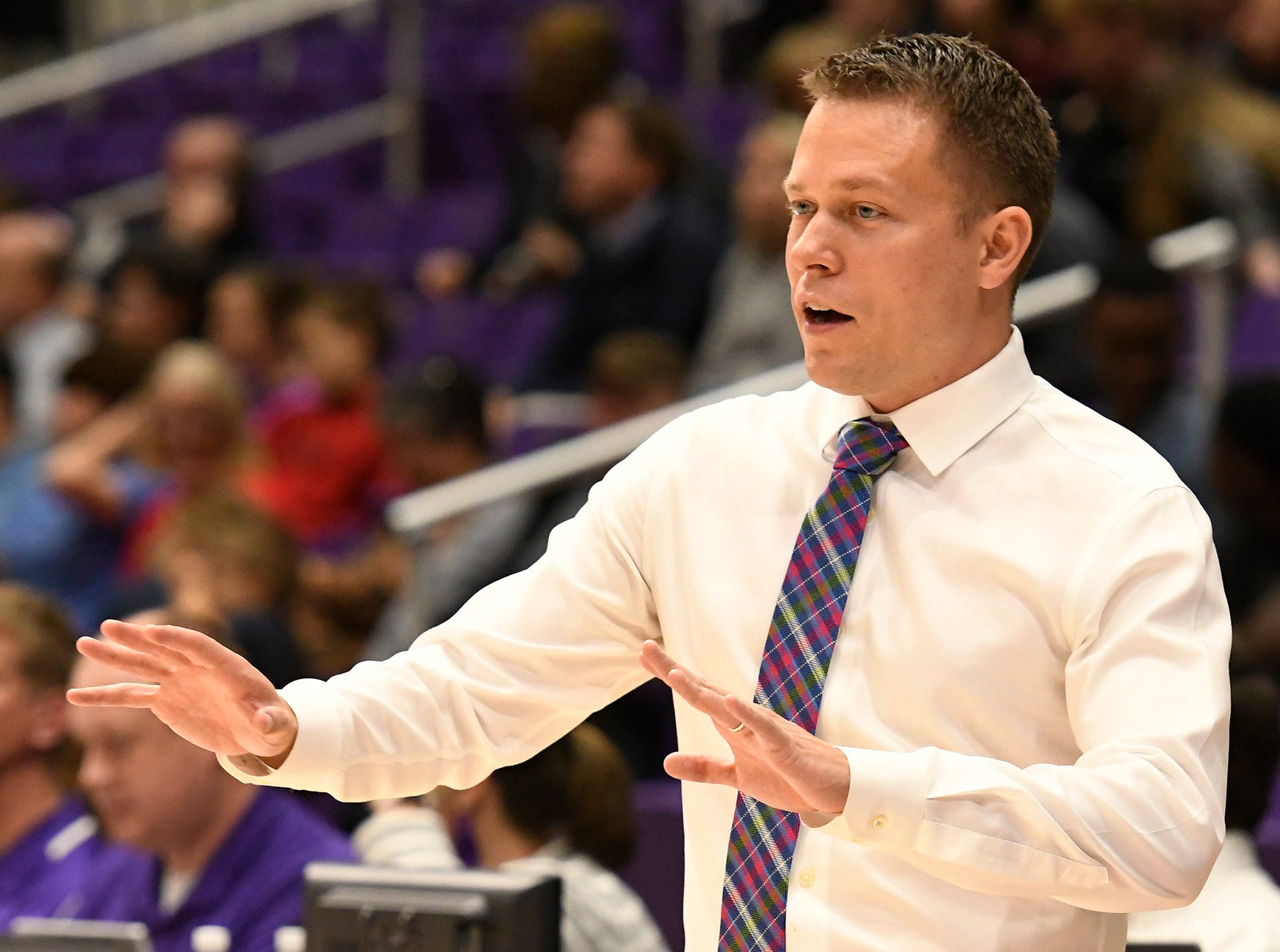 Furman head basketball coach Bob Richey directs his team against Bob Jones Tuesday, November 6, 2018, at Timmons Arena.