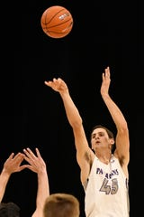 Furman's Clay Mounce (45) went 5-for-6 on 3-point shooting against Loyola and finished with 22 points.