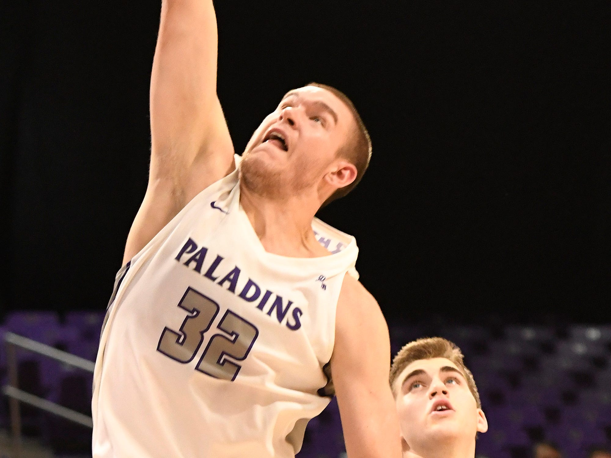 Furman's Matt Rafferty (32) sinks a basket against Bob Jones Tuesday, November 6, 2018, at Timmons Arena.