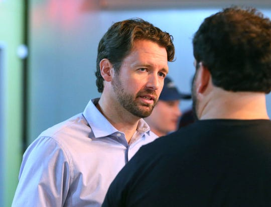 In this July 26, 2018 photo Democratic candidate (SC-1) Joe Cunningham at a campaign stop in Charleston, SC. Democrats trying to flip a U.S. House seat in South Carolina for the first time since 1986 are pouring most of their efforts into a coastal district where the Republican incumbent lost to an enthusiastic backer of President Donald Trump. (Wade Spees/The Charleston Post and Courier via AP)