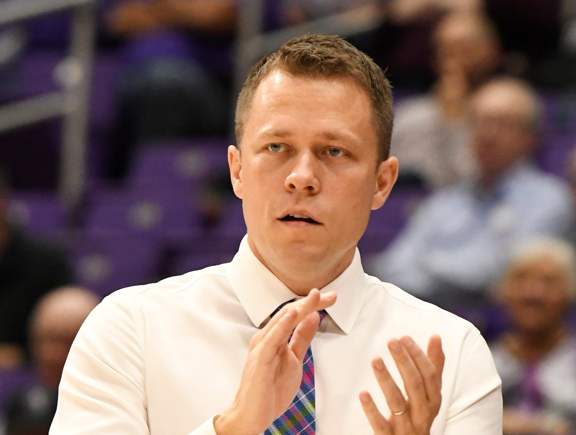 Furman head basketball coach Bob Richey rallies his team against Bob Jones Tuesday, November 6, 2018, at Timmons Arena.