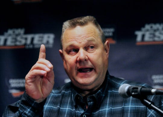 """""""Leadership isn't about being an echo, leadership is about leading,"""" Sen. Jon Tester tells supporters are his victory rally Wednesday at the Holiday Inn in Great Falls."""