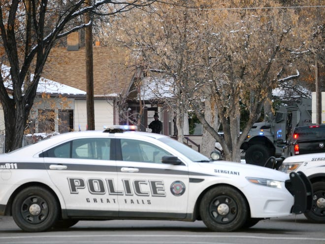 The Great Falls Police Department responds to an incident between the 500 and 600 block of 10th Street South in Great Falls Tuesday, Nov. 6, 2018.