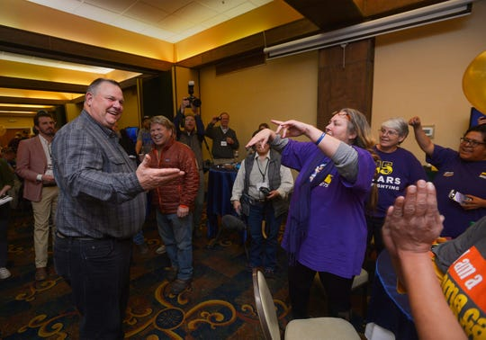 Sen. Jon Tester, D-Mont., meets with supporters during his election night party Nov. 7, 2018, at the Holiday Inn in Great Falls.