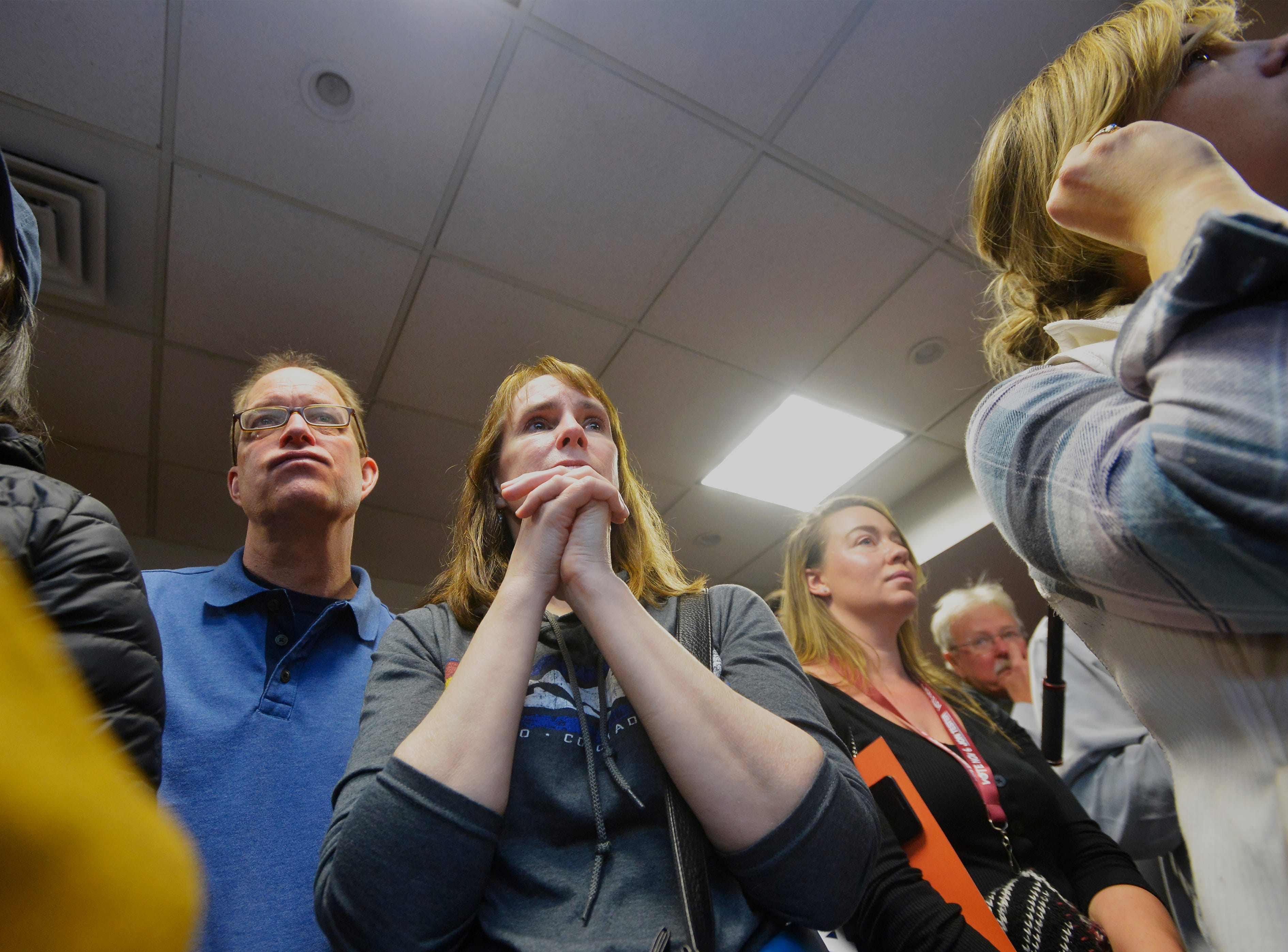 Supporters of Senator Jon Tester look on during his victory rally at the Holiday Inn on Wednesday morning after AP called the senate race in favor of Tester.