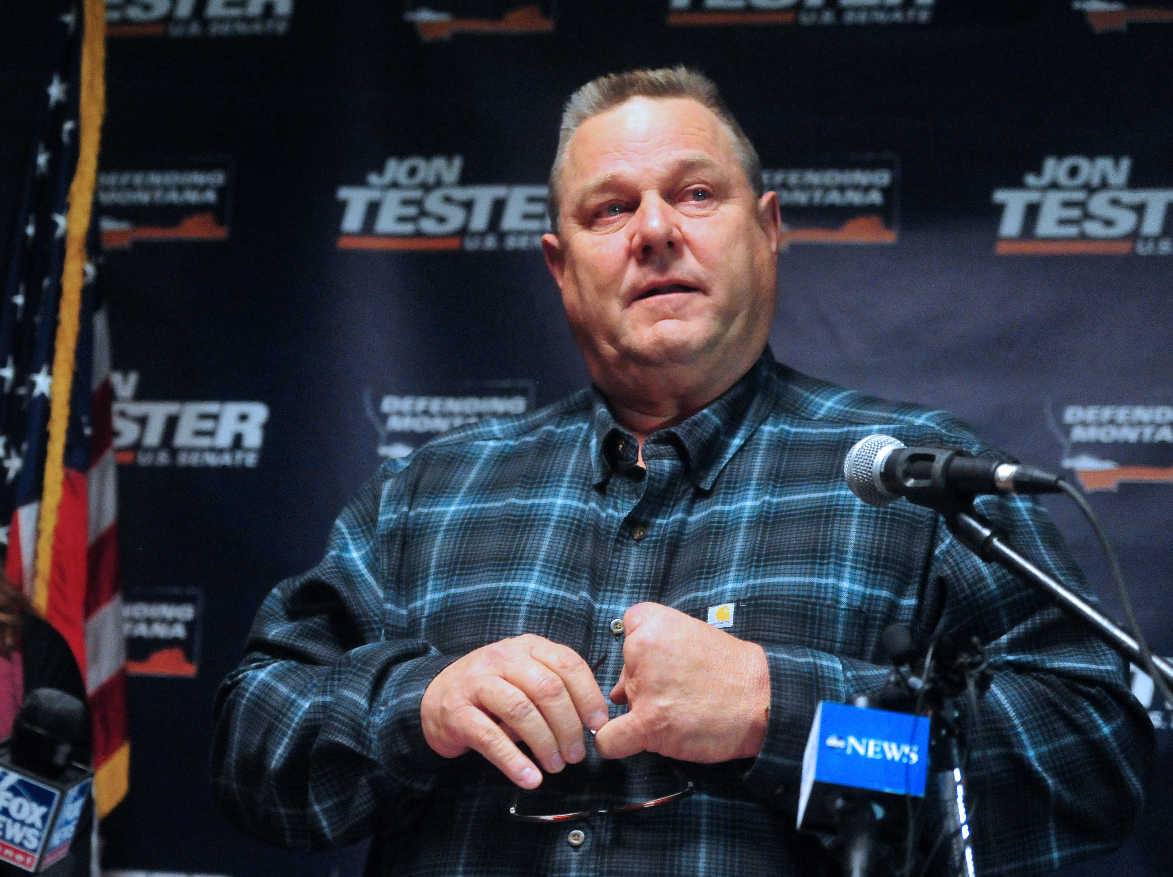 Senator Jon Tester talks about his work with military veterans during his victory rally at the Holiday Inn in Great Falls on Wednesday morning after the AP called the senate race in his favor.