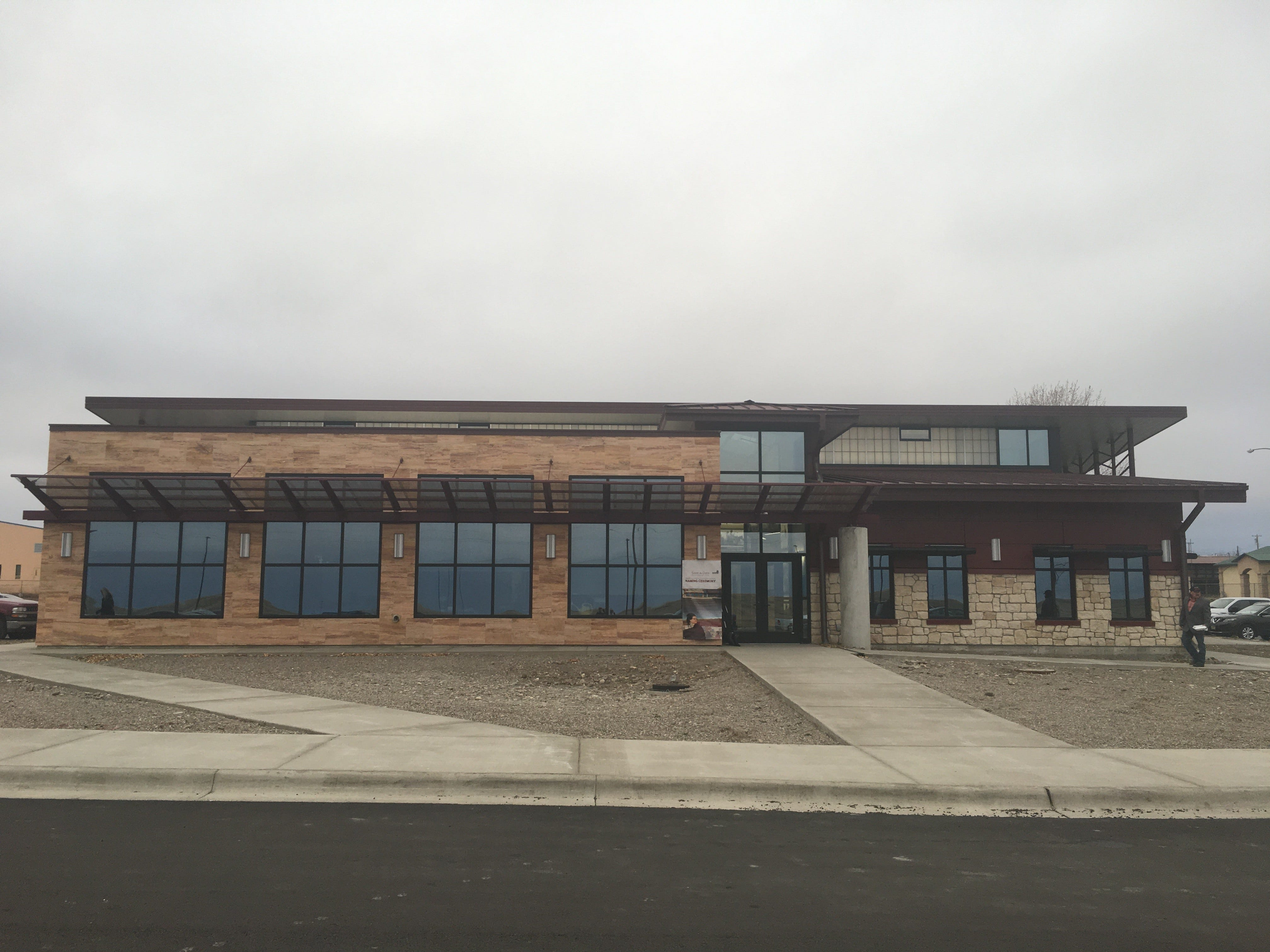 A side view of Blackfeet Community College's new building named for Elouise Cobell, also known as Yellow Bird Woman, the late tribal elder and posthumous awardee of the Presidential Medal of Freedom.