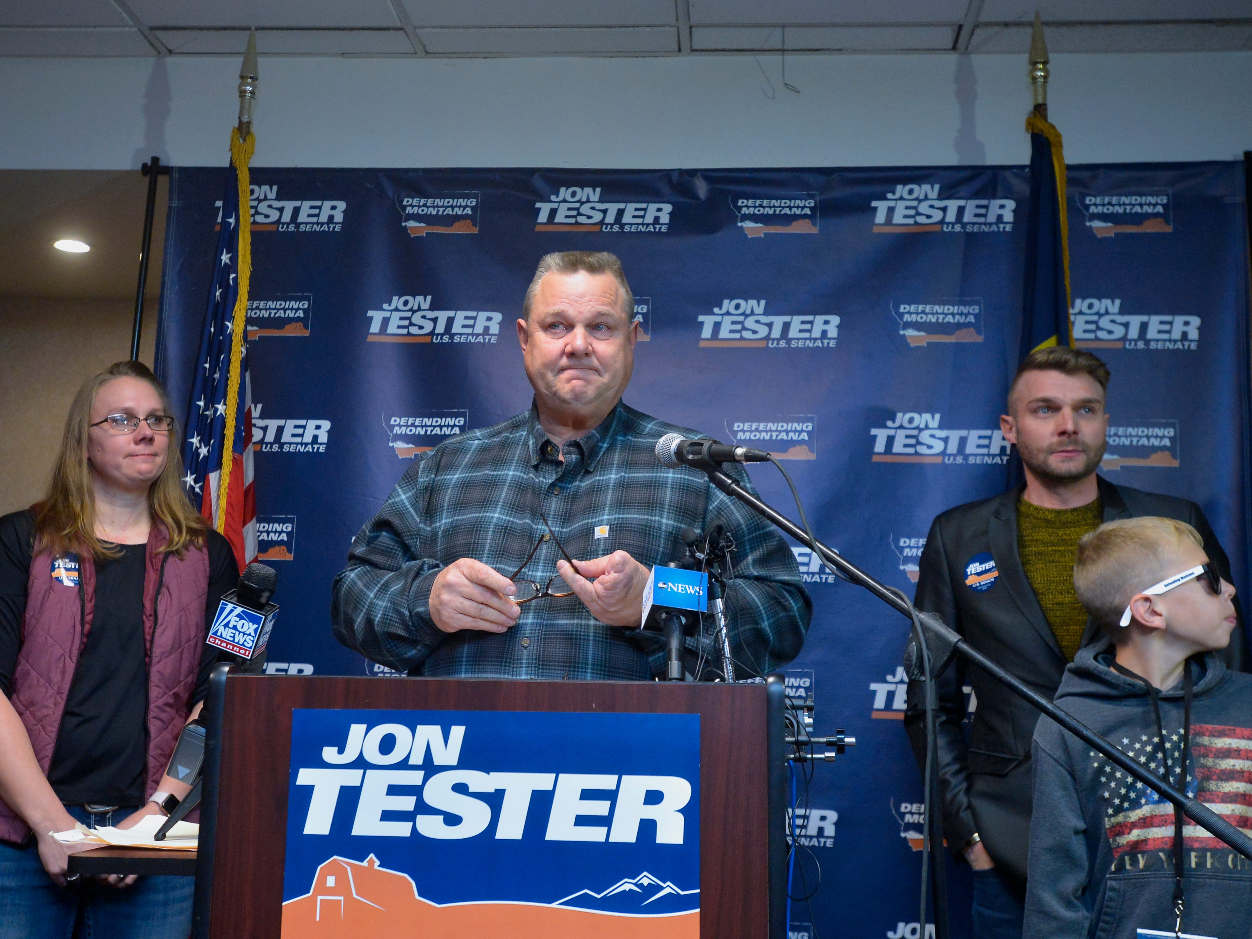 Senator Jon Tester makes a victory speech at the Holiday Inn in Great Falls on Wednesday morning after the AP called the senate race in favor of Tester.