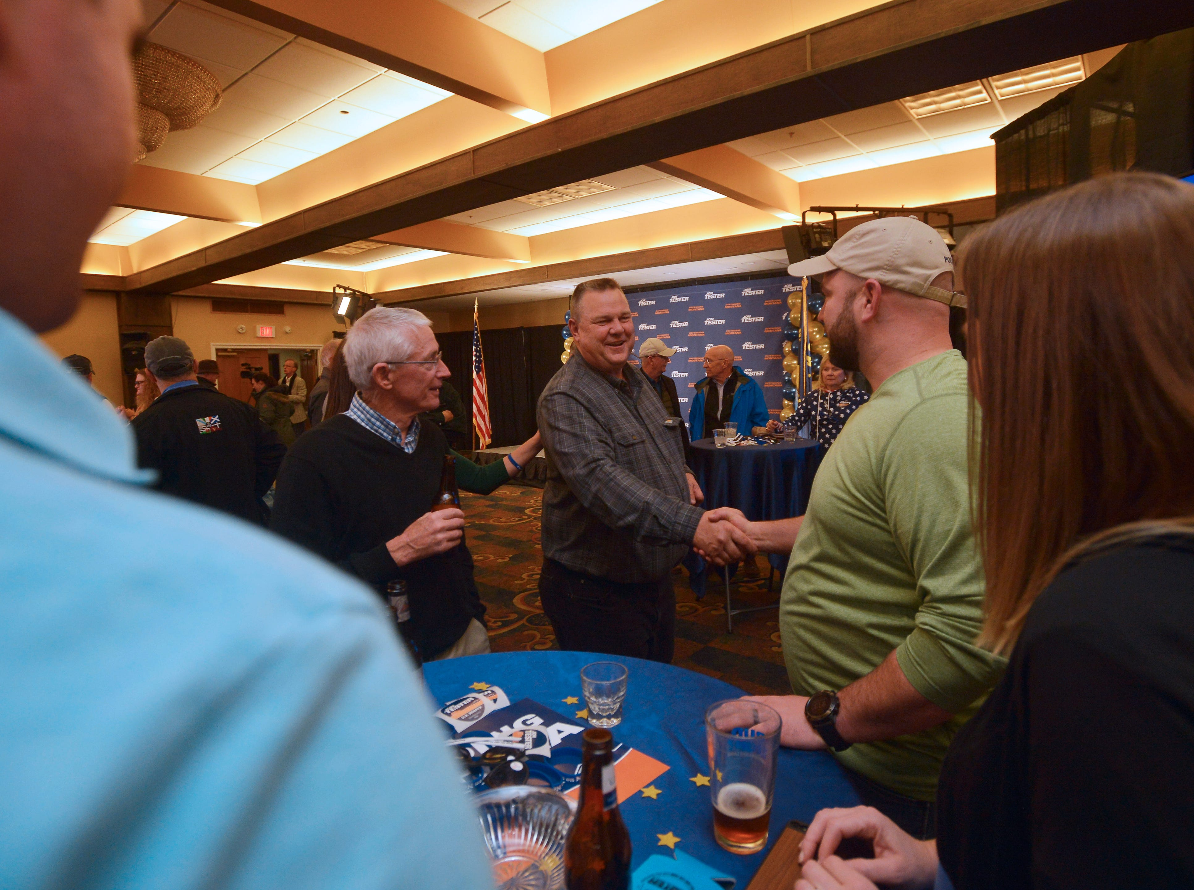 Senator Jon Tester thanks supporters during his election night party at the Holiday Inn in Great Falls on Tuesday night.
