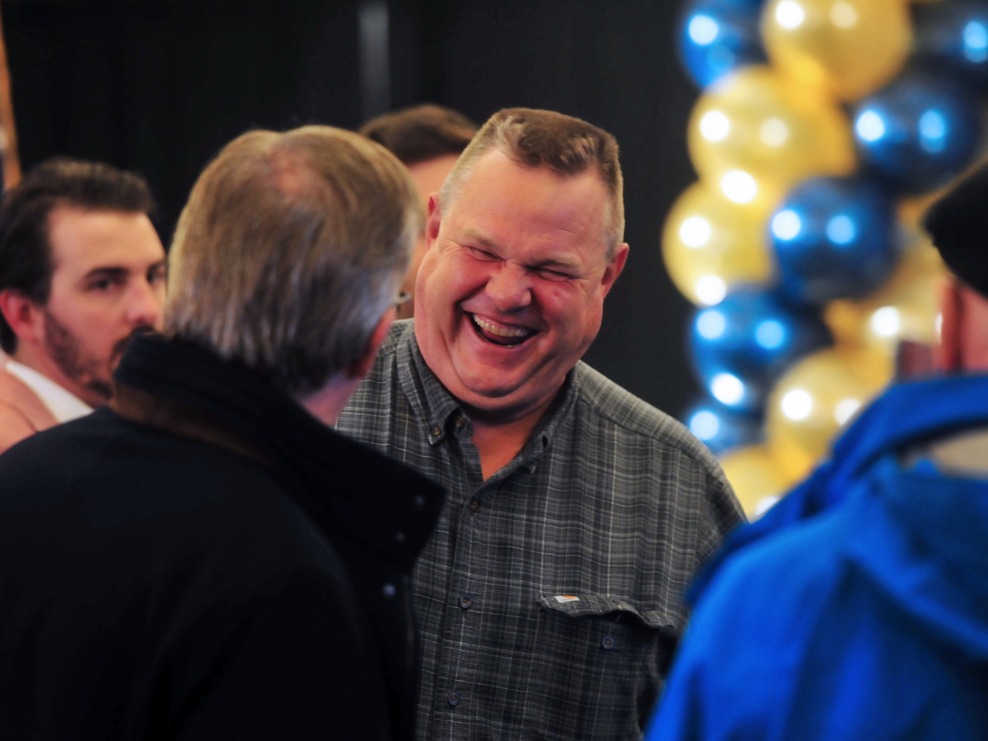 Sen.  Jon Tester, D-Mont., mingles with supporters early in the evening, Nov. 6, 2018, during his election night party at the Holiday Inn in Great Falls.