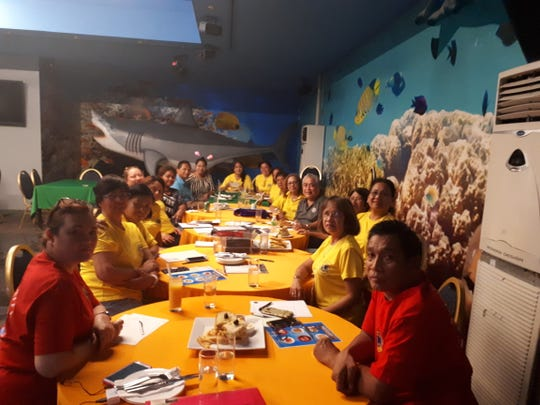 On October 31, District  204 Governor Danny Cruz met with Saipan Lions club representatives  to discuss the immediate distribution of food items from funds received from Lions Club International Foundation. LCIF provided $10,000 to assist in the Saipan/Tinian Typhoon Yutu Disaster. Shown from left:  Lion Alice Satumino; Lion Lucy Buensalido; Lion Flor Miranda; region 2 chair, Annamae Adaza; Lion Jessica Taylor; Lion member; region 2 zone 1 chair Lion Al Cabael; Lion Anna; region 2 secretary Lion Anita Canadilla; Lion member; Lion Neneth Marquez; Lion Arceli Lizama; Cruz; Lion Ruth, Lion Ladyvir Canape; Lion Yolanda Villavicencio and Lion Willie Abu.
