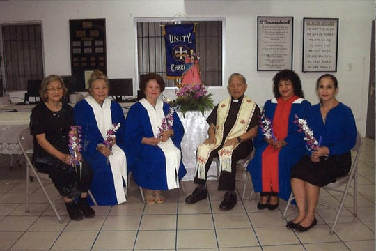 The Catholic Daughters, Court Our Lady of Camarin #2047 held its installation of new officers in Hagatna on September 2. The Most Reverend Monsignor Brigido Arroyo, court chaplain, administered the Oath of Office. Pictured from left: Concepcion Cruz, proxy for treasurer, vice-regent Mary S. Torres, regent Priscilla S.N. Muna, Monsignor Arroyo, financial secretary Marian L. Aflague and recording secretary Joleen Respicio.