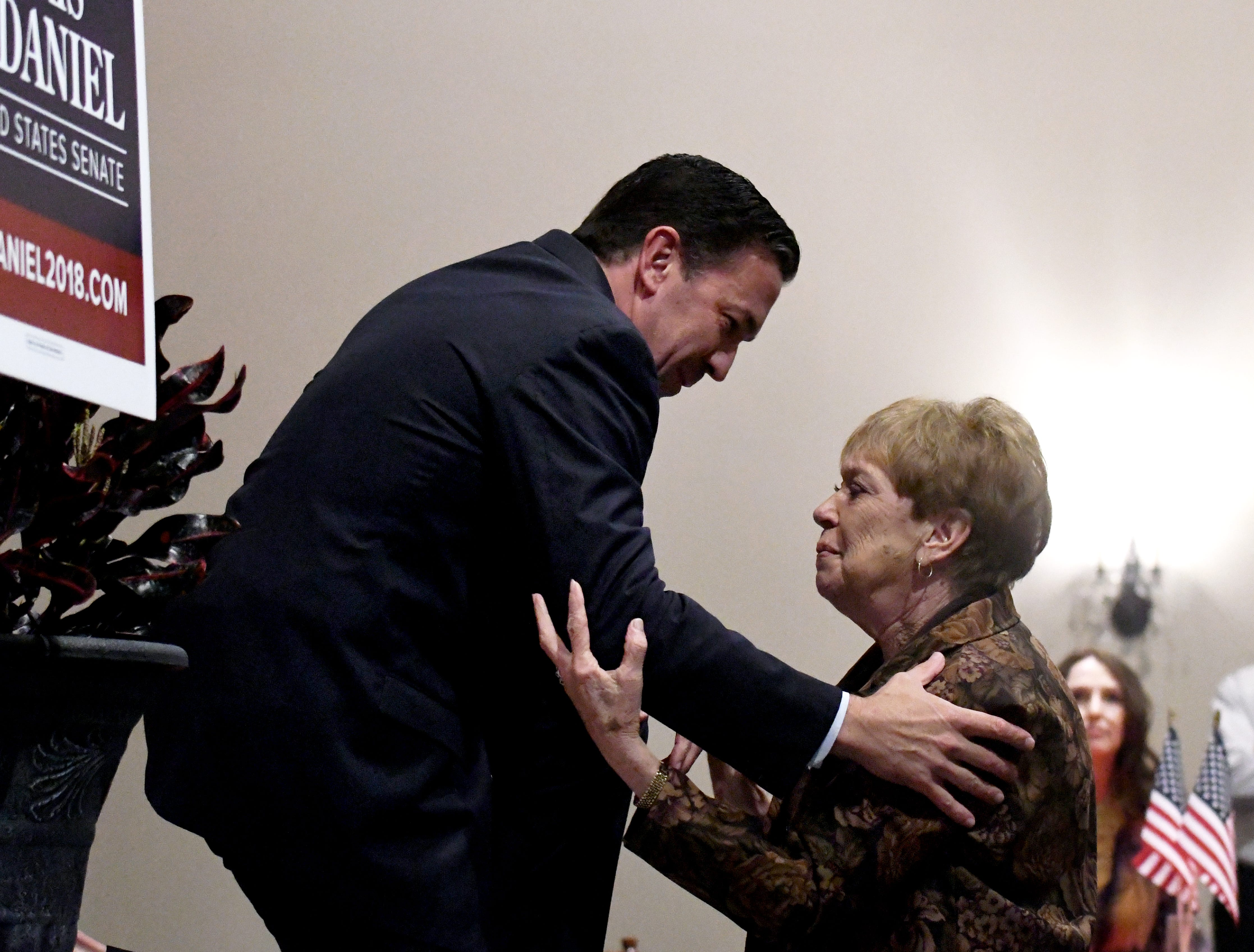 Republican Senate candidate Chris McDaniel is comforted by his mother, Charlotte, after he loosing in Mississippi's U.S. Senate race in Laurel on Tuesday, November 6, 2018. 