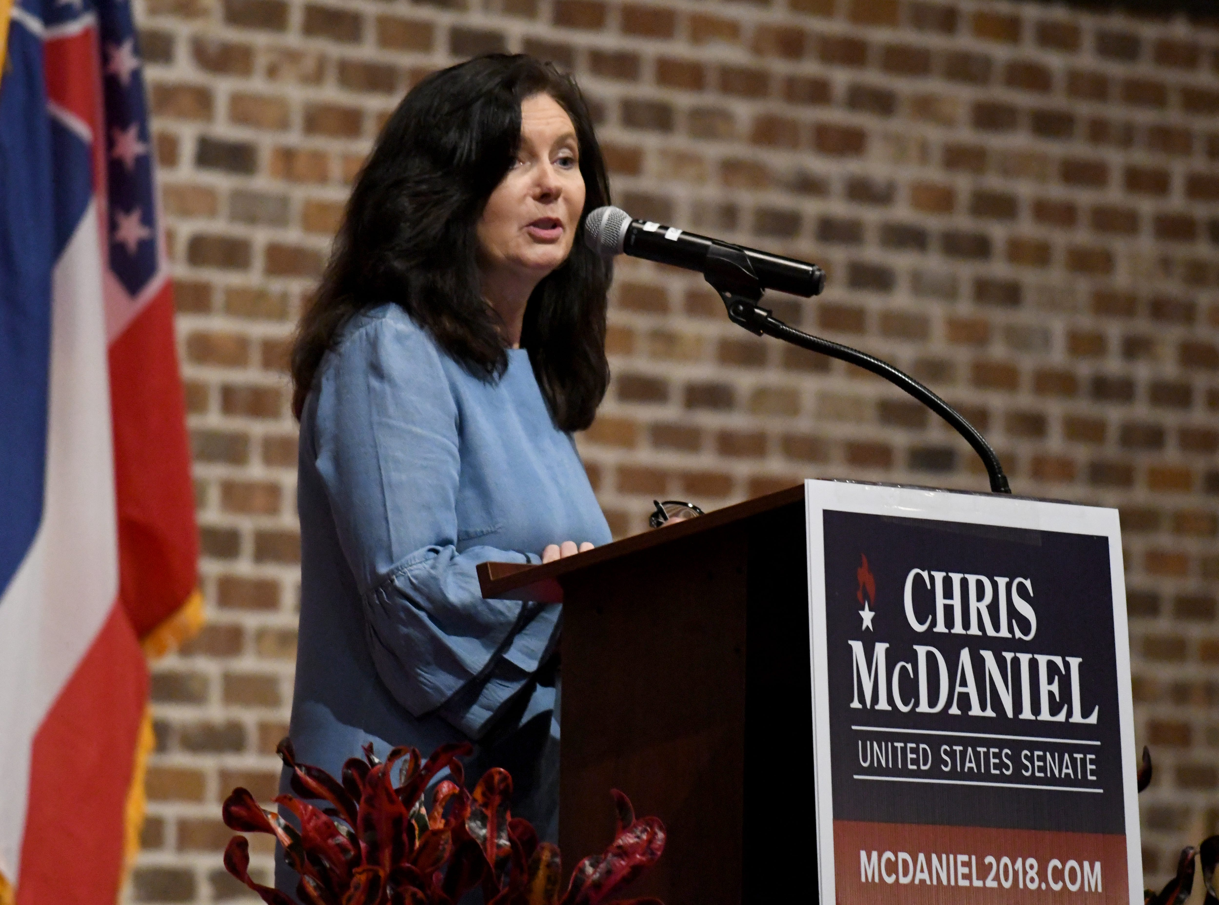 Angela Hill, state senator of District 40, speaks to Chris McDaniel supporters in Laurel on Tuesday, November 6, 2018. McDaniel looses the senate race to Hyde-Smith and Espy.