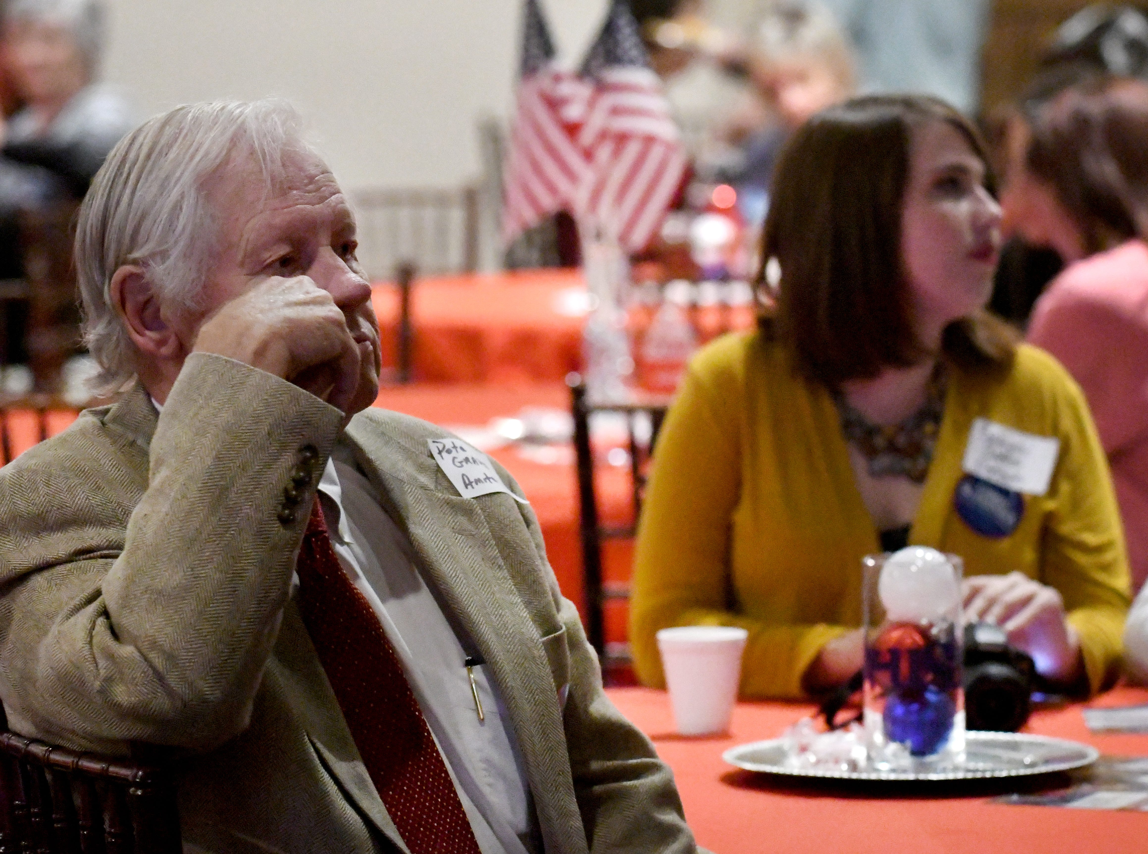 Republican supporters wait to hear the election results for senate candidate Chris McDaniel in Laurel on Tuesday, November 6, 2018. McDaniel looses the senate race to Hyde-Smith and Espy.