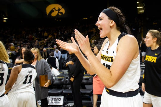 Iowa forward Megan Gustafson (10) celebrates after a women's basketball exhibition basketball game on Tuesday, Nov. 6, 2018, at Carver-Hawkeye Arena in Iowa City.