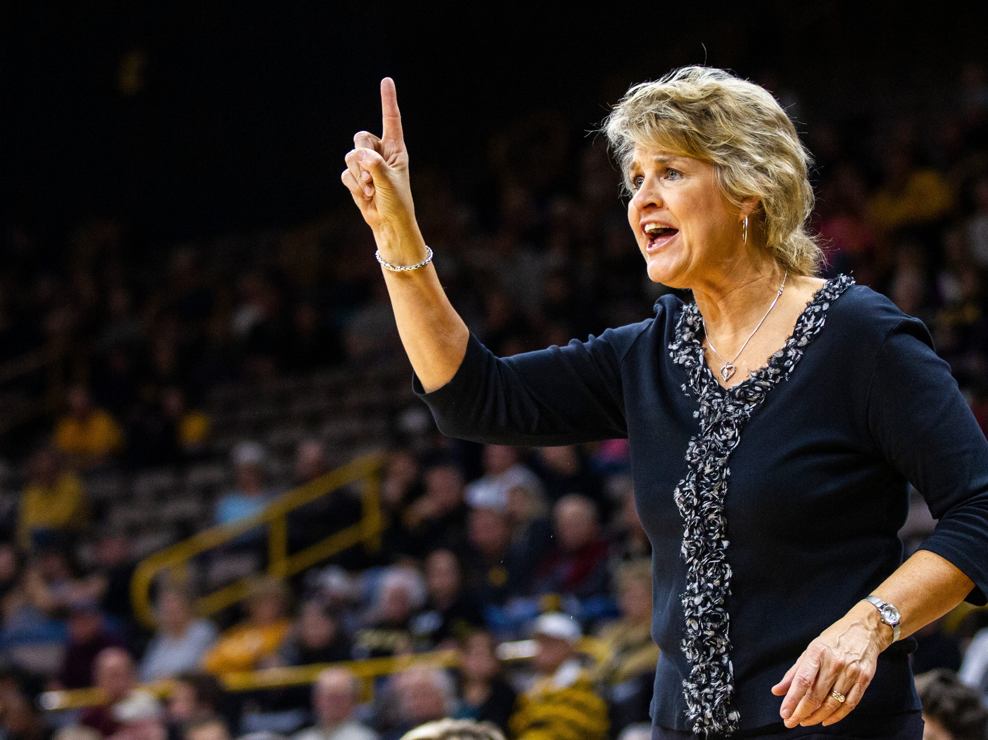 Iowa head coach Lisa Bluder calls out to players during a women's basketball exhibition basketball game on Tuesday, Nov. 6, 2018, at Carver-Hawkeye Arena in Iowa City.