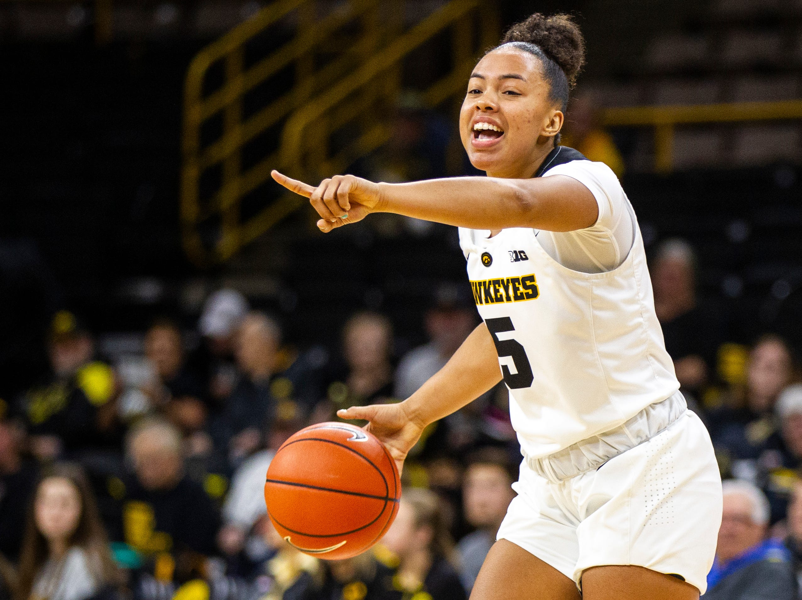 Iowa guard Alexis Sevillian (5) calls out to teammates during a women's basketball exhibition basketball game on Tuesday, Nov. 6, 2018, at Carver-Hawkeye Arena in Iowa City.