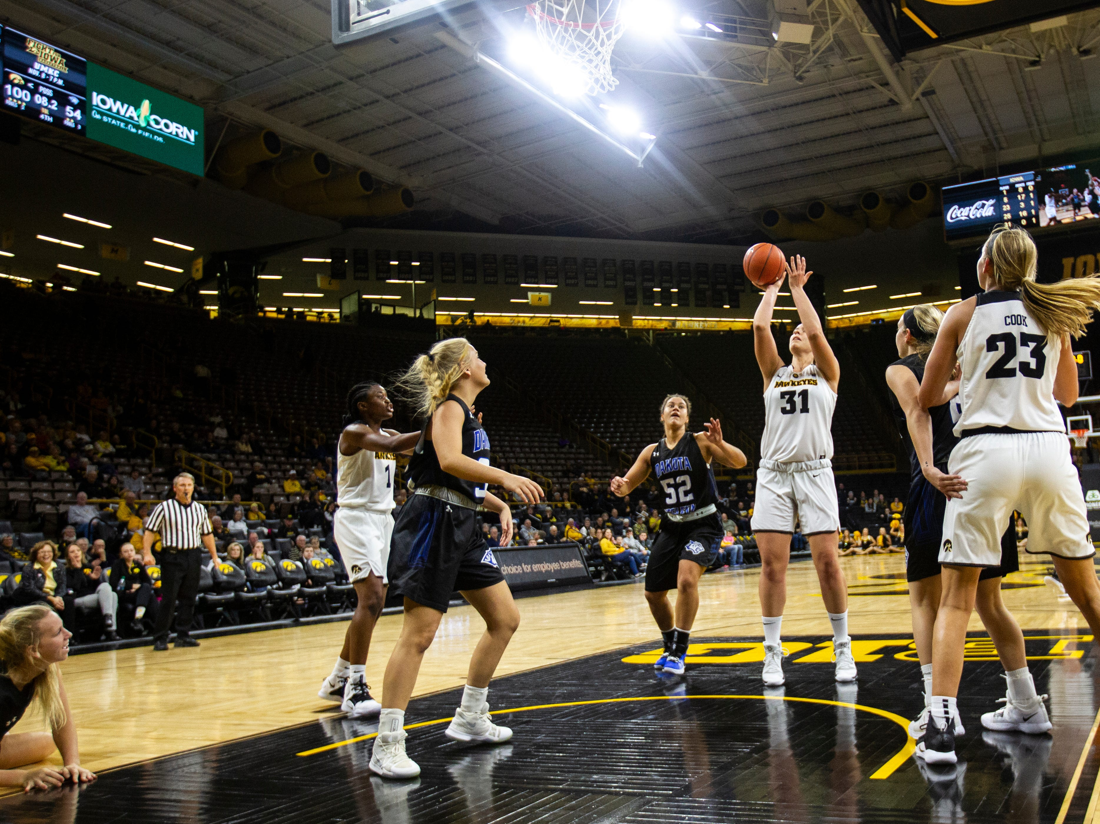 Iowa's Paula Valino Ramos (31) attempts a shot during a women's basketball exhibition basketball game on Tuesday, Nov. 6, 2018, at Carver-Hawkeye Arena in Iowa City.