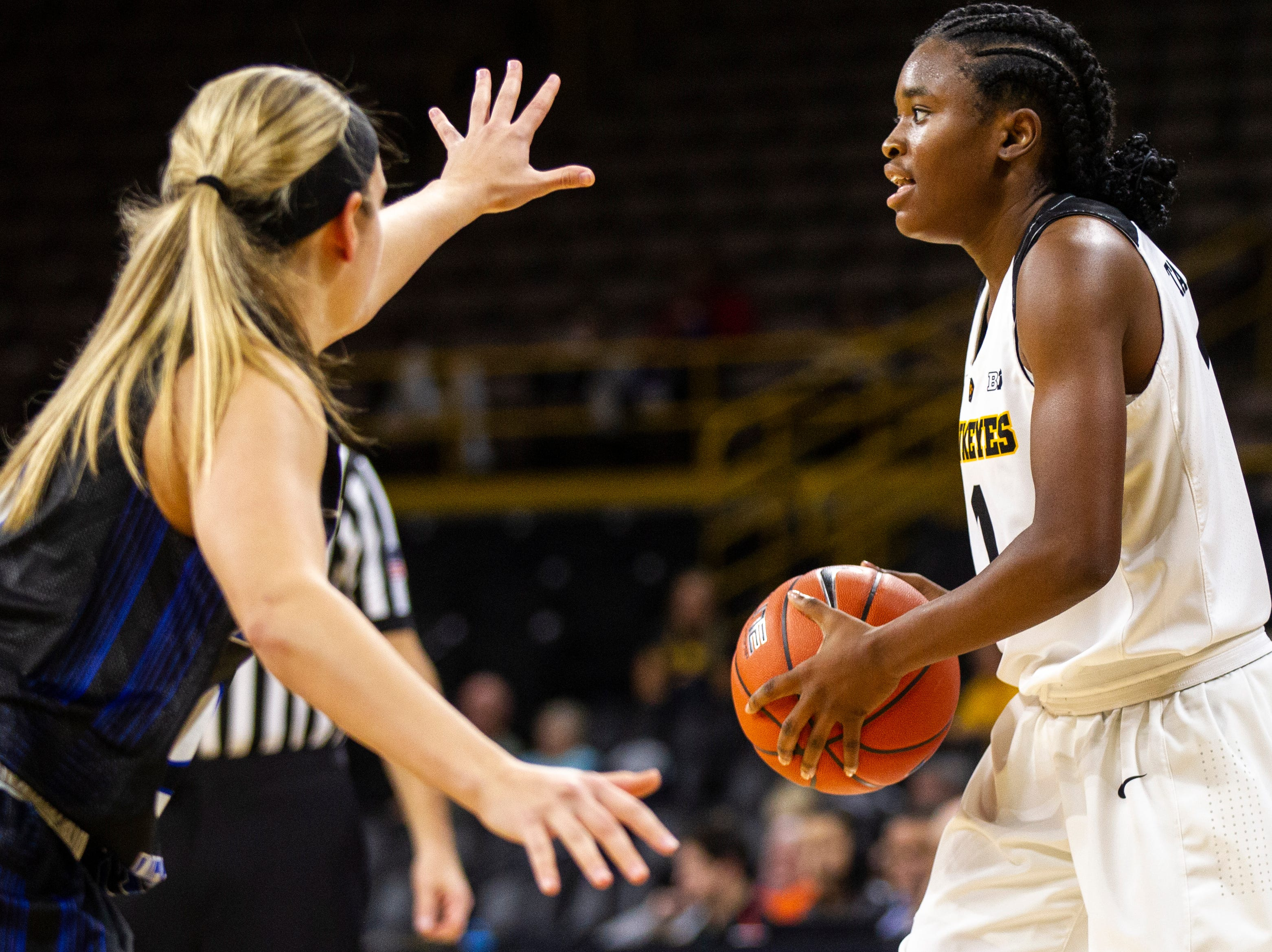 Iowa guard Tomi Taiwo (1) looks to pass during a women's basketball exhibition basketball game on Tuesday, Nov. 6, 2018, at Carver-Hawkeye Arena in Iowa City.