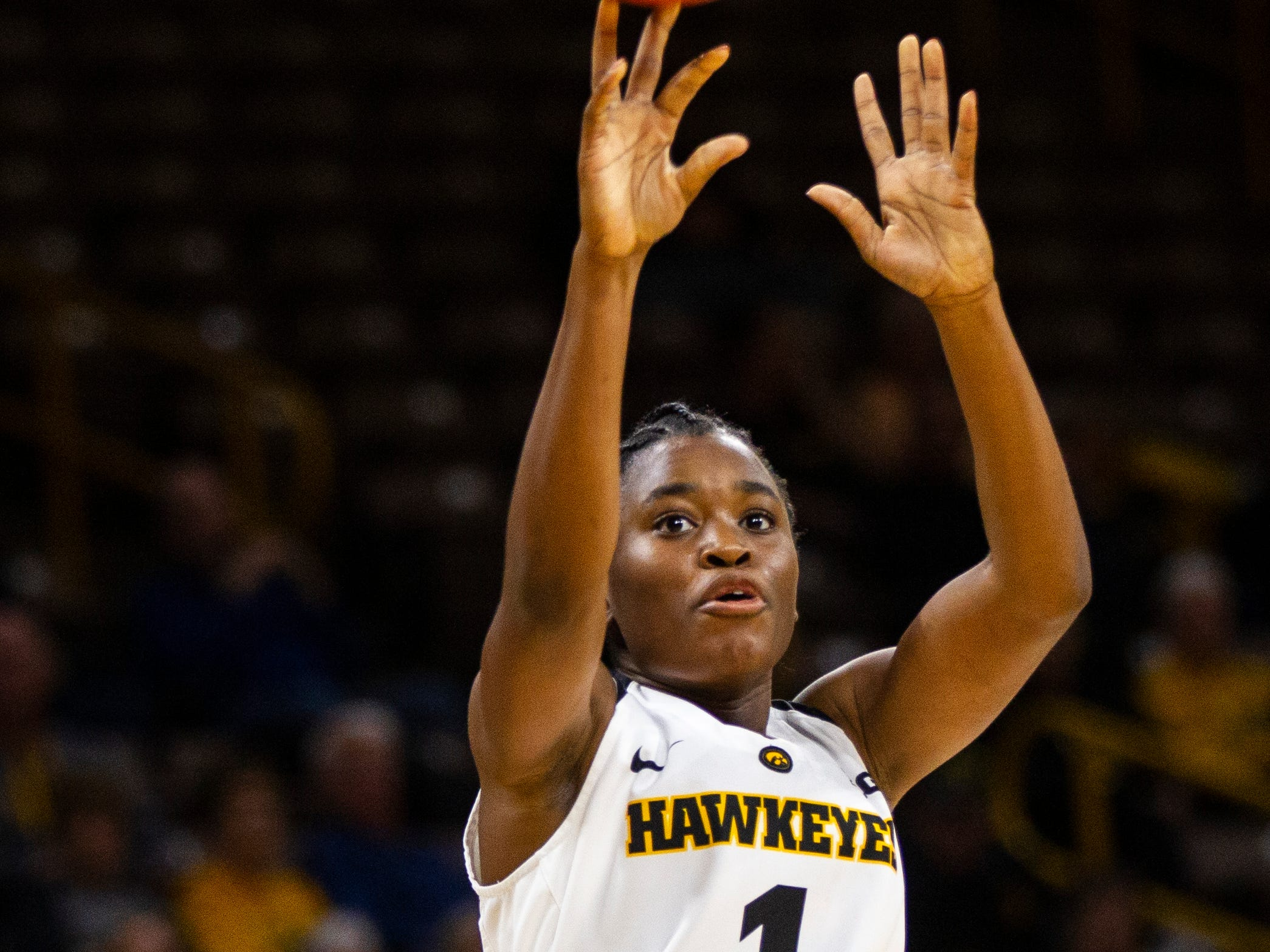 Iowa guard Tomi Taiwo (1) shoots during a women's basketball exhibition basketball game on Tuesday, Nov. 6, 2018, at Carver-Hawkeye Arena in Iowa City.