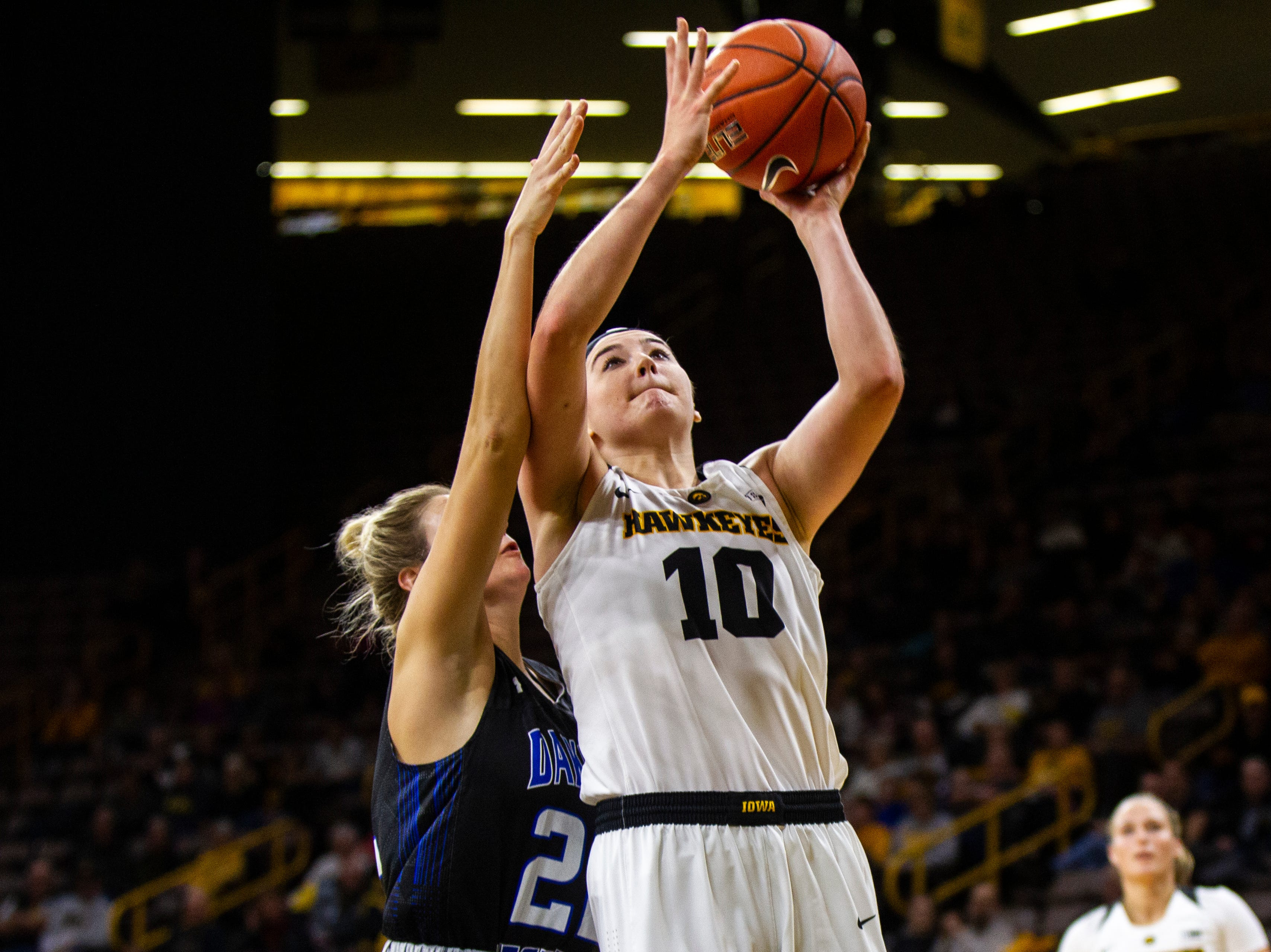 Iowa forward Megan Gustafson (10) takes a shot during a women's basketball exhibition basketball game on Tuesday, Nov. 6, 2018, at Carver-Hawkeye Arena in Iowa City.