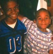 Brothers, born a year apart, and best friends: Keivonte Waters (left) and Darius Leonard slept in the same room for 17 years.